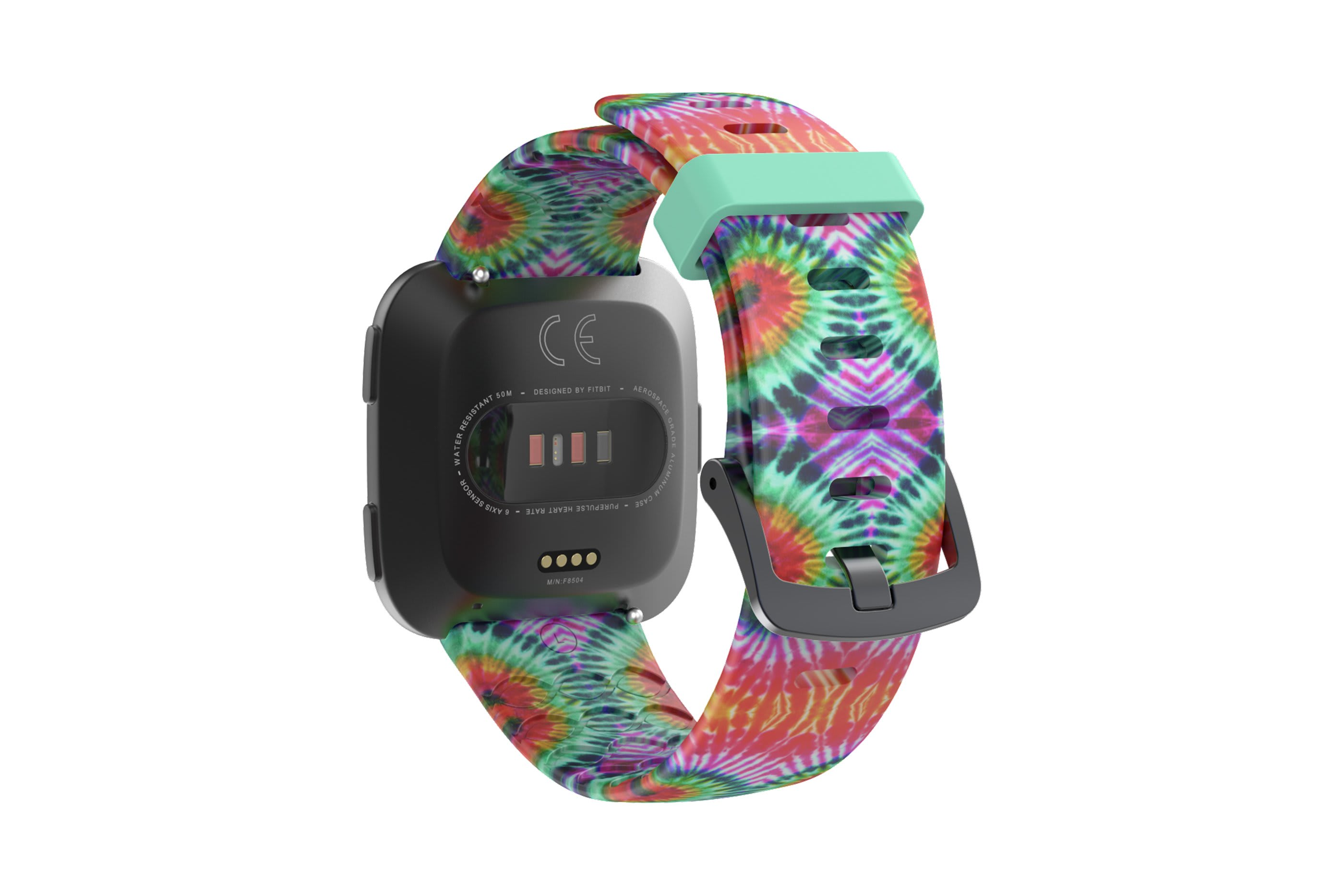 Gypsy Eyes fitbit versa watch band with gray hardware viewed from top down