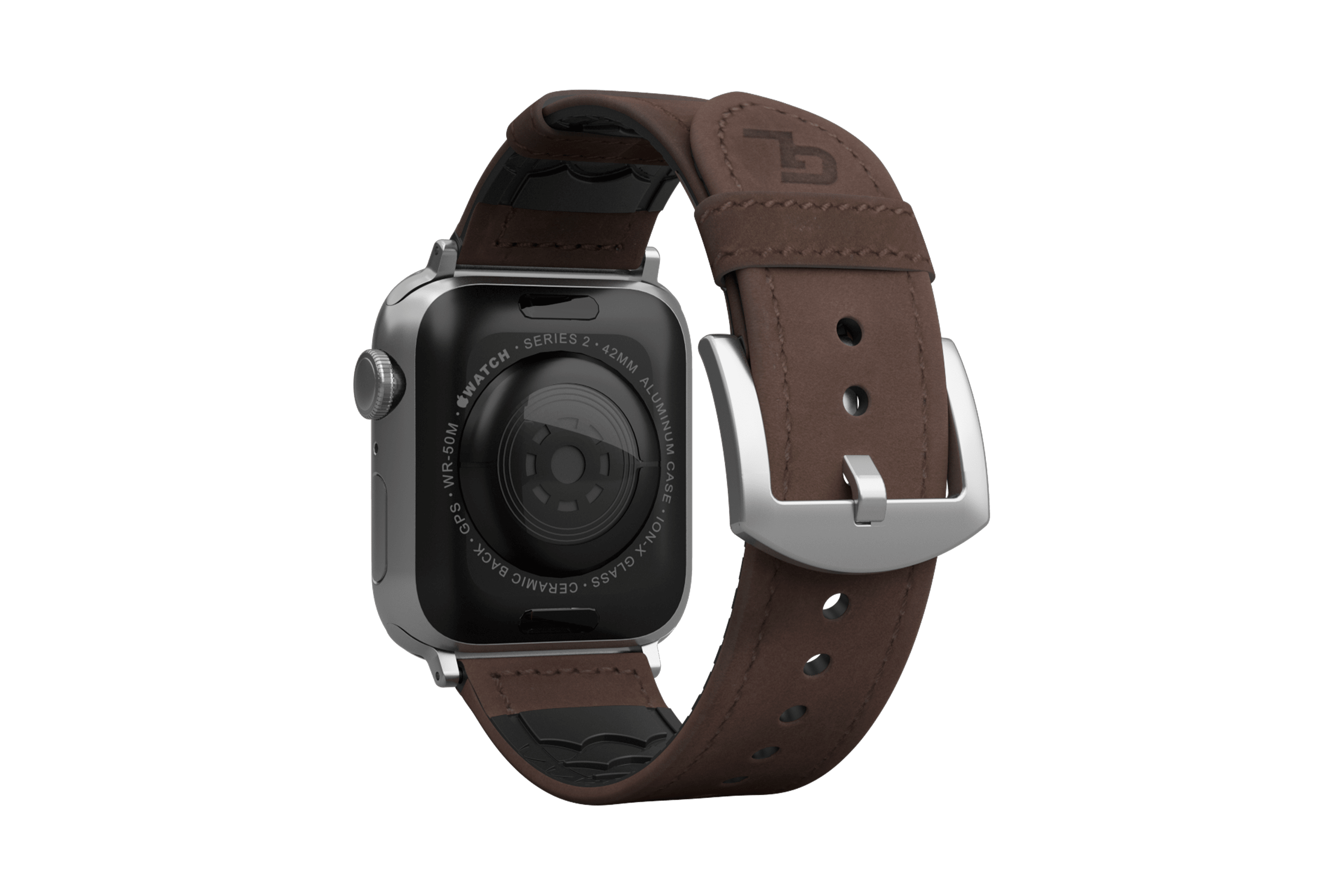 Vulcan Ascent Leather apple watch band with  silver hardware viewed from top down