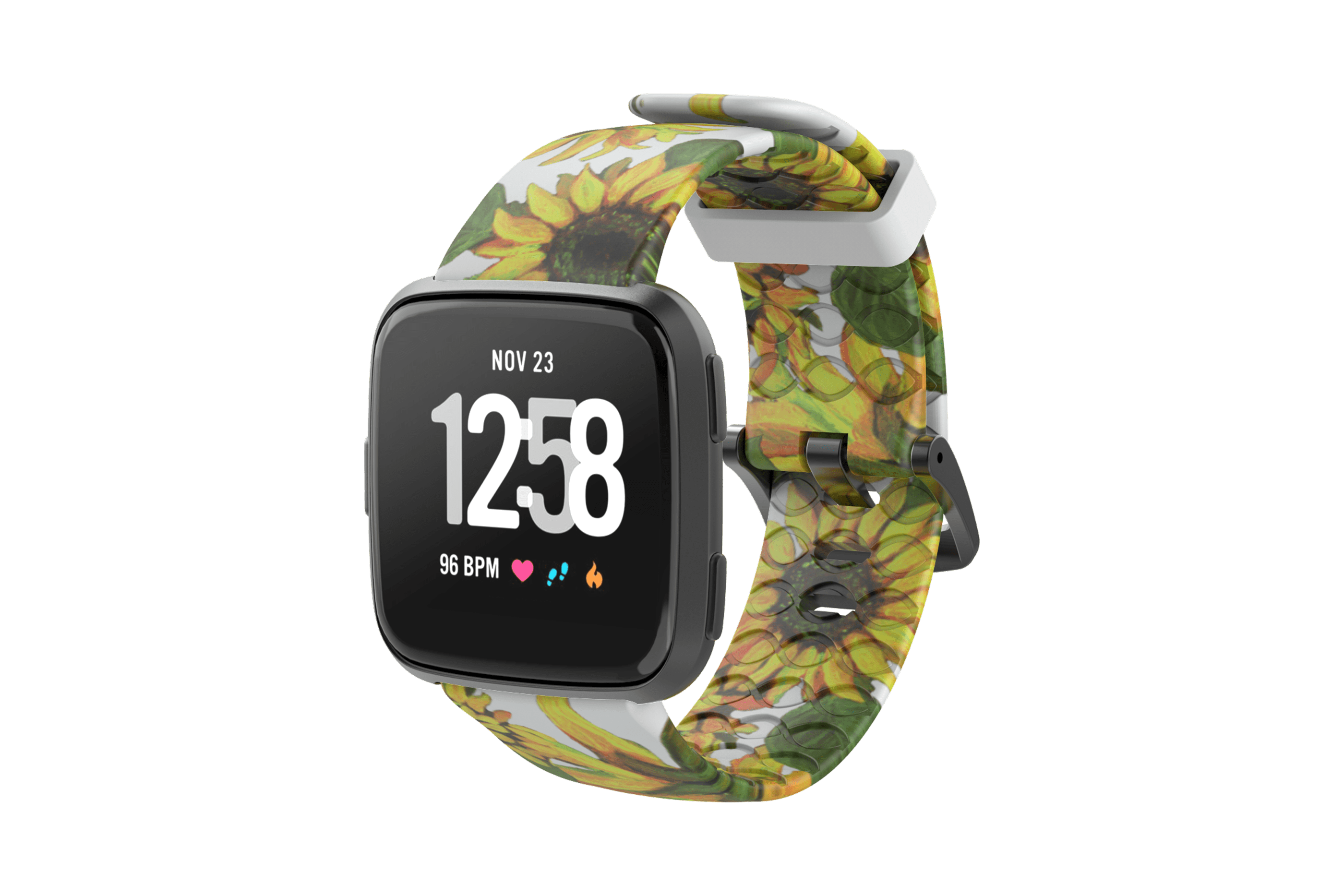 Sunflower Fitbit Versa Watch Band with gray hardware viewed front on