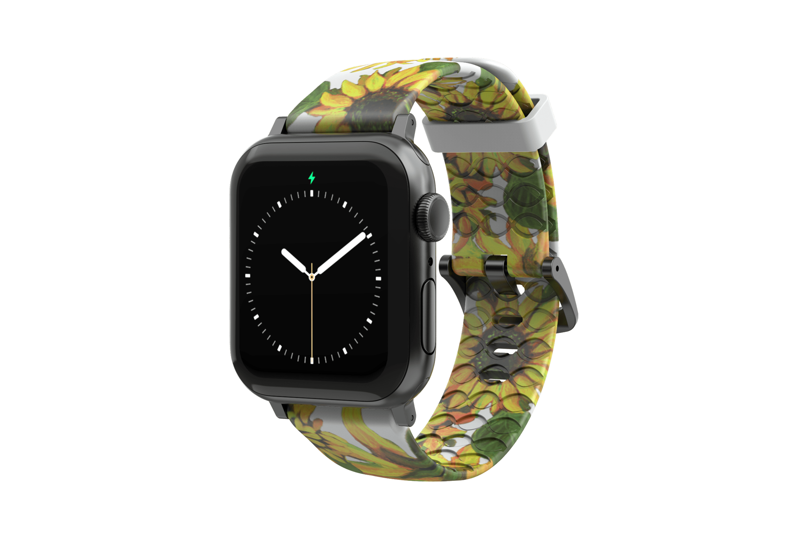 Sunflower Apple Watch Band with gray hardware viewed front on