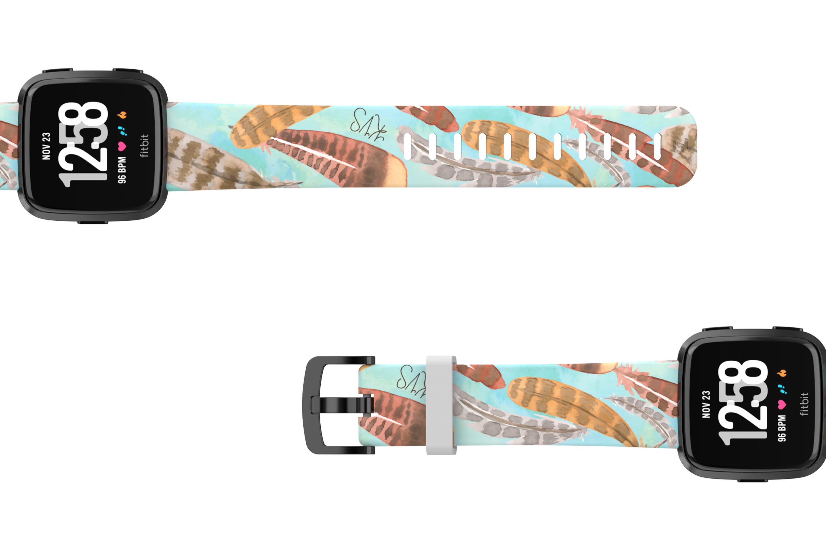 Brave - Katie Van Slyke Fitbit Versa watch band with gray hardware viewed top down
