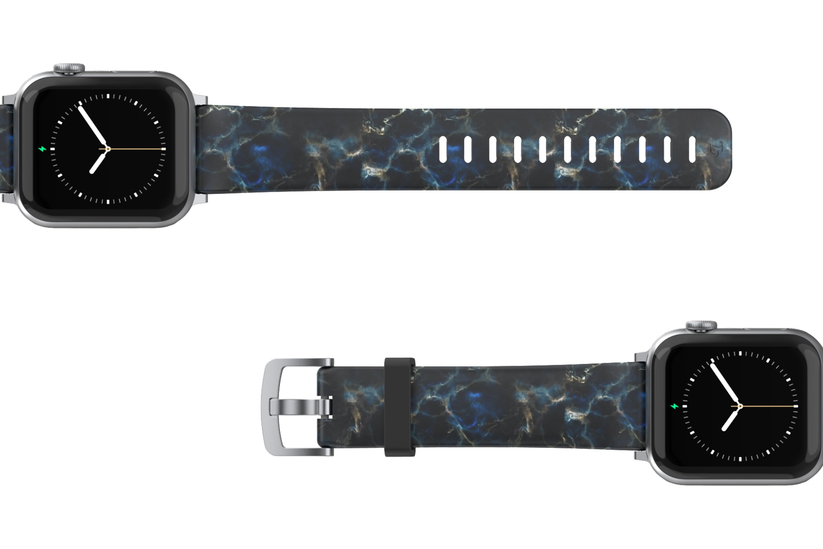Nomad Rapids Apple Watch Band with silver hardware viewed top down