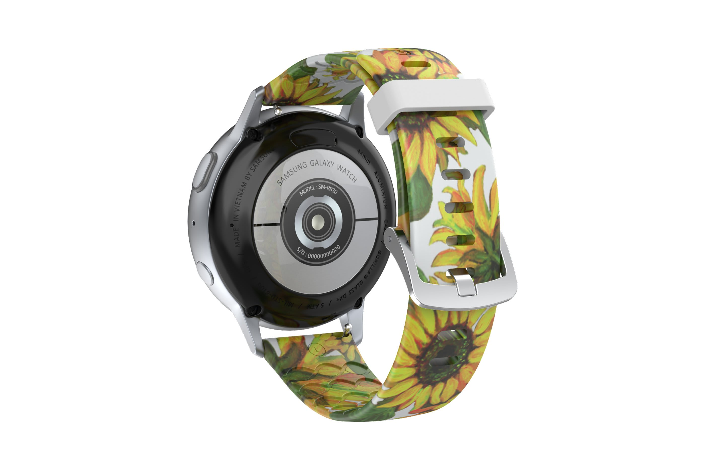 Sunflower  Samsung 22mm watch band with silver hardware viewed from rear