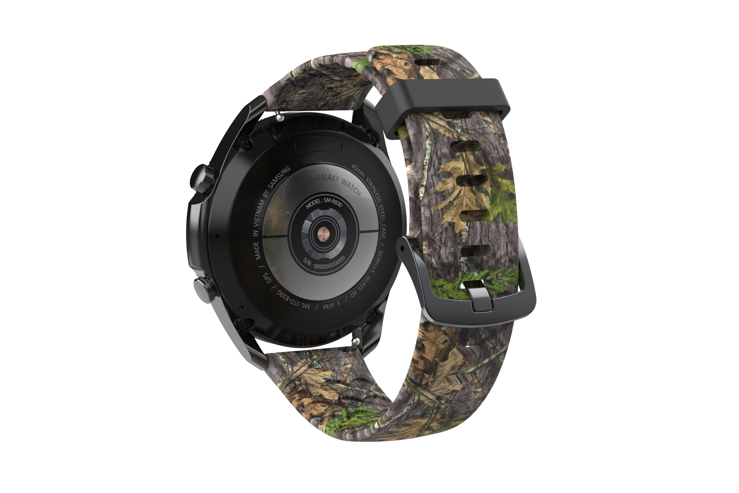 NWTF Mossy Oak Obsession  Samsung 22mm watch band with gray hardware viewed from rear