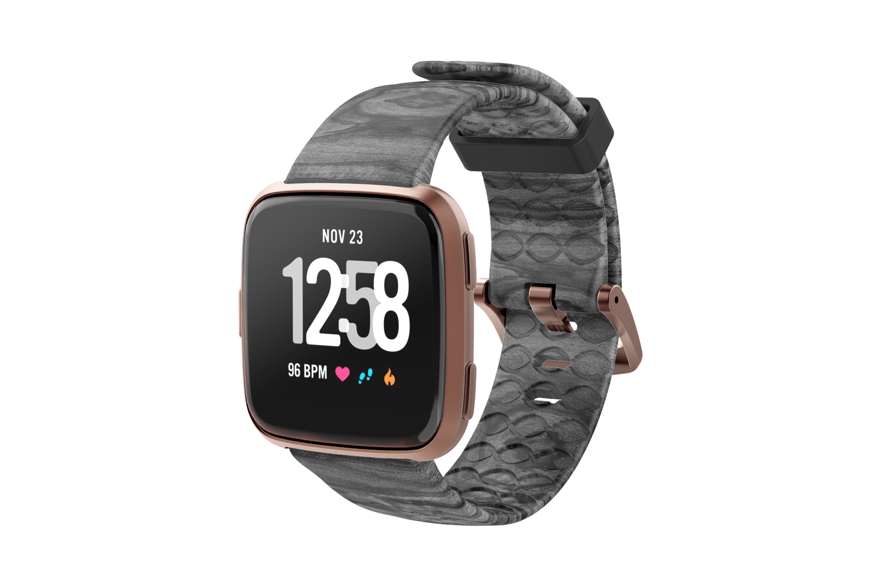 Nomad Relic Fitbit Versa Watch Band with rose gold hardware viewed front on