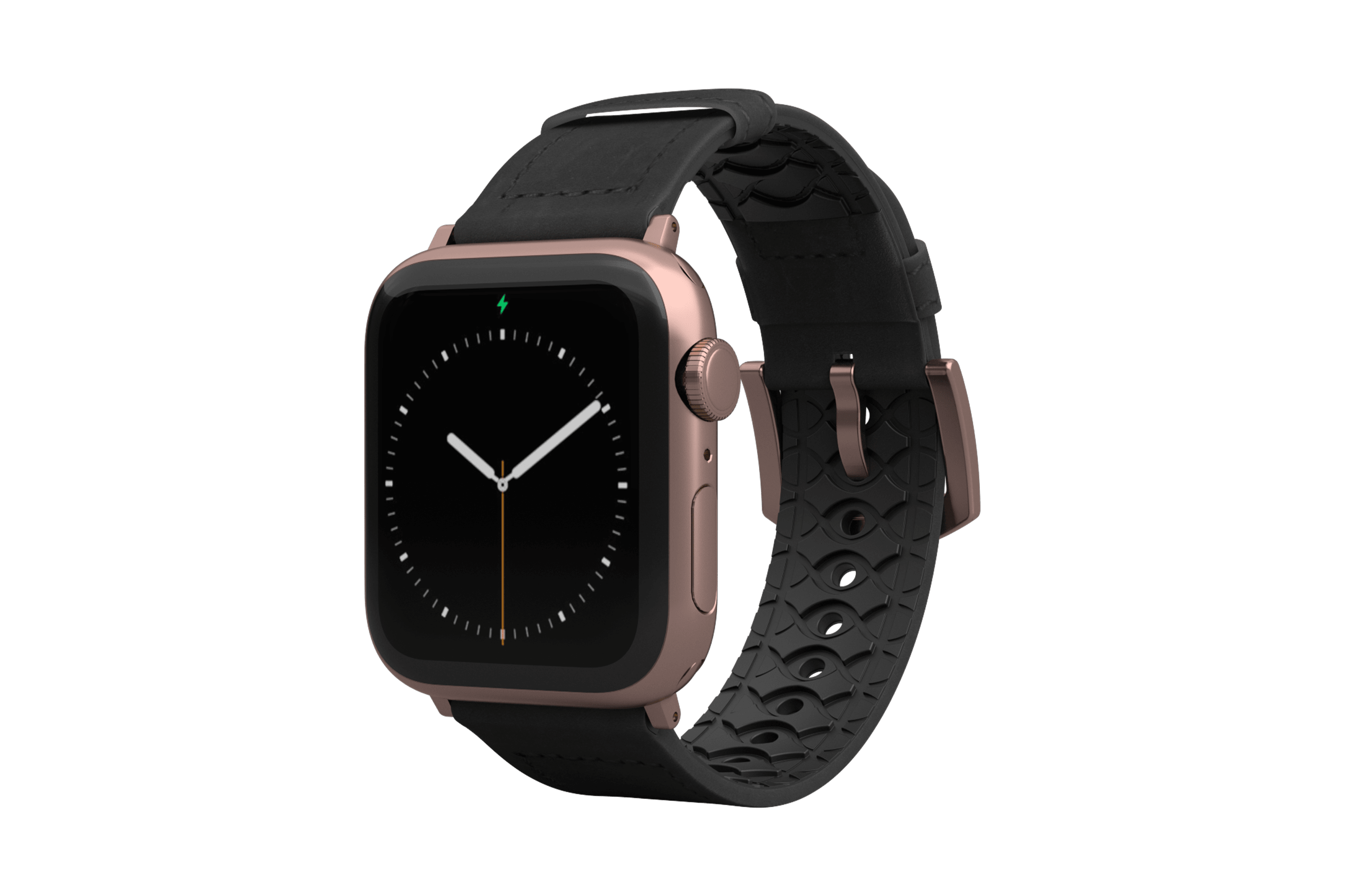 Vulcan Obsidian Black Leather Apple Watch Band with rose gold hardware viewed front on