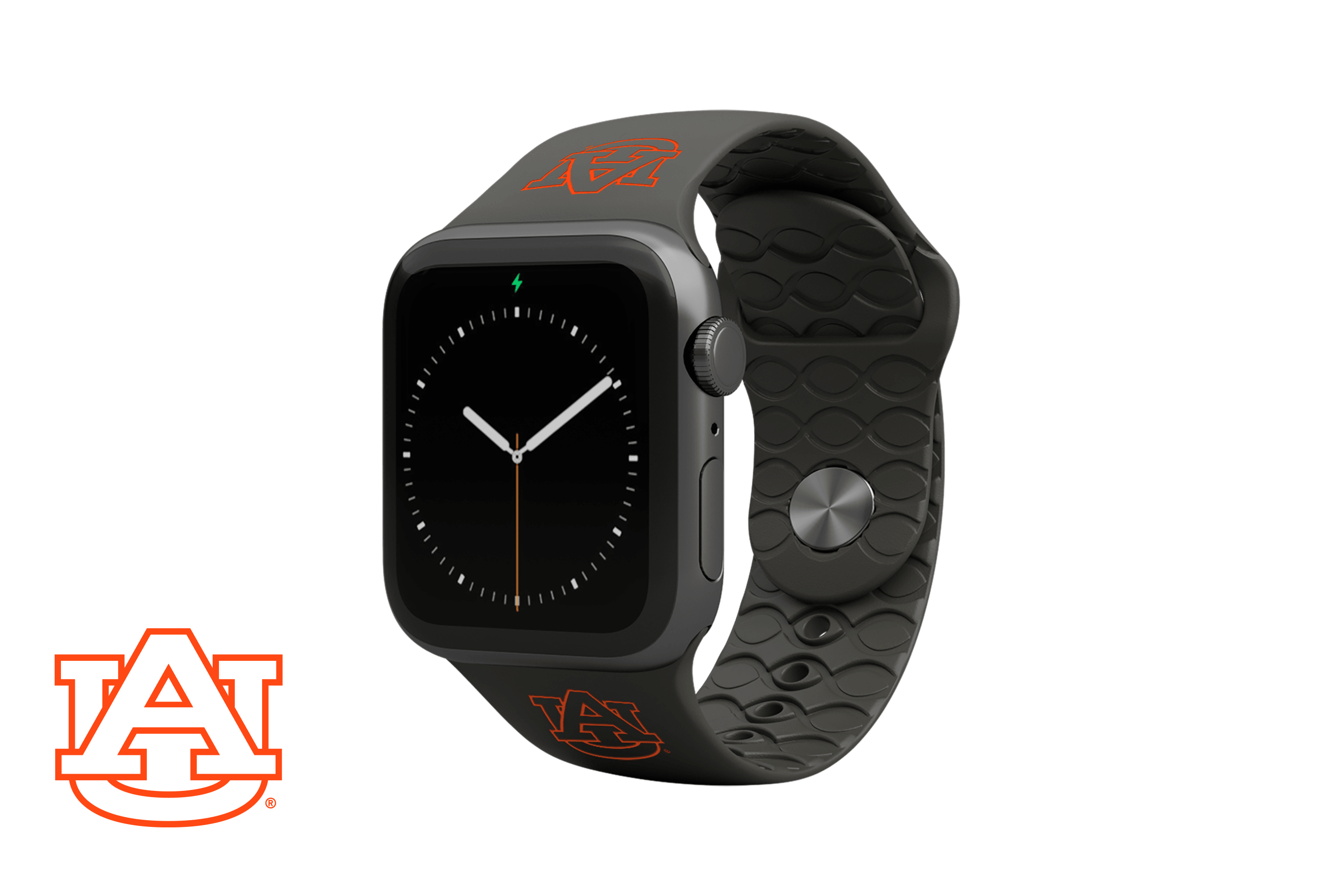 Apple Watch Band College Auburn Black with gray hardware viewed front on