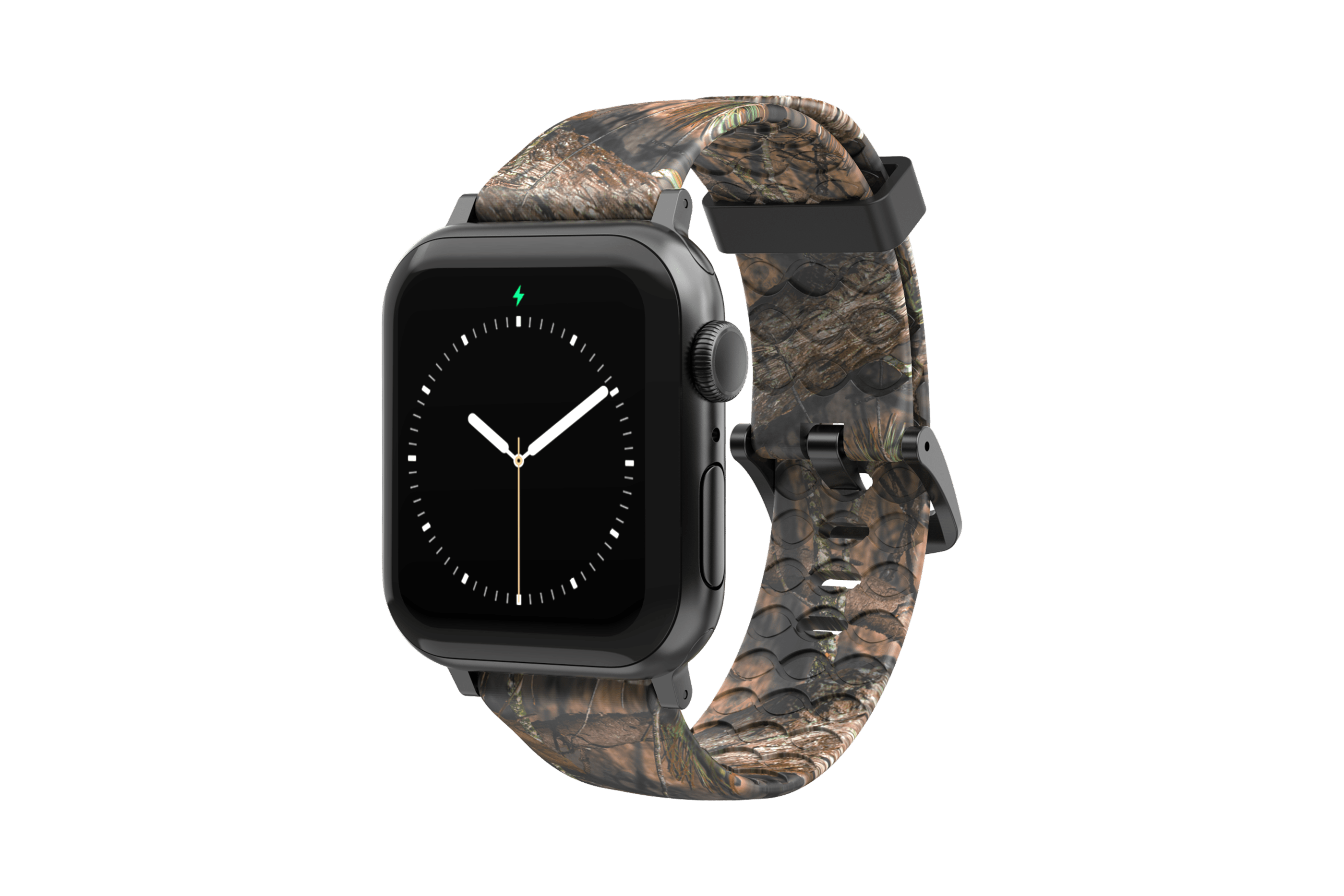 Mossy Oak Breakup - Apple Watch Band with gray hardware viewed front on