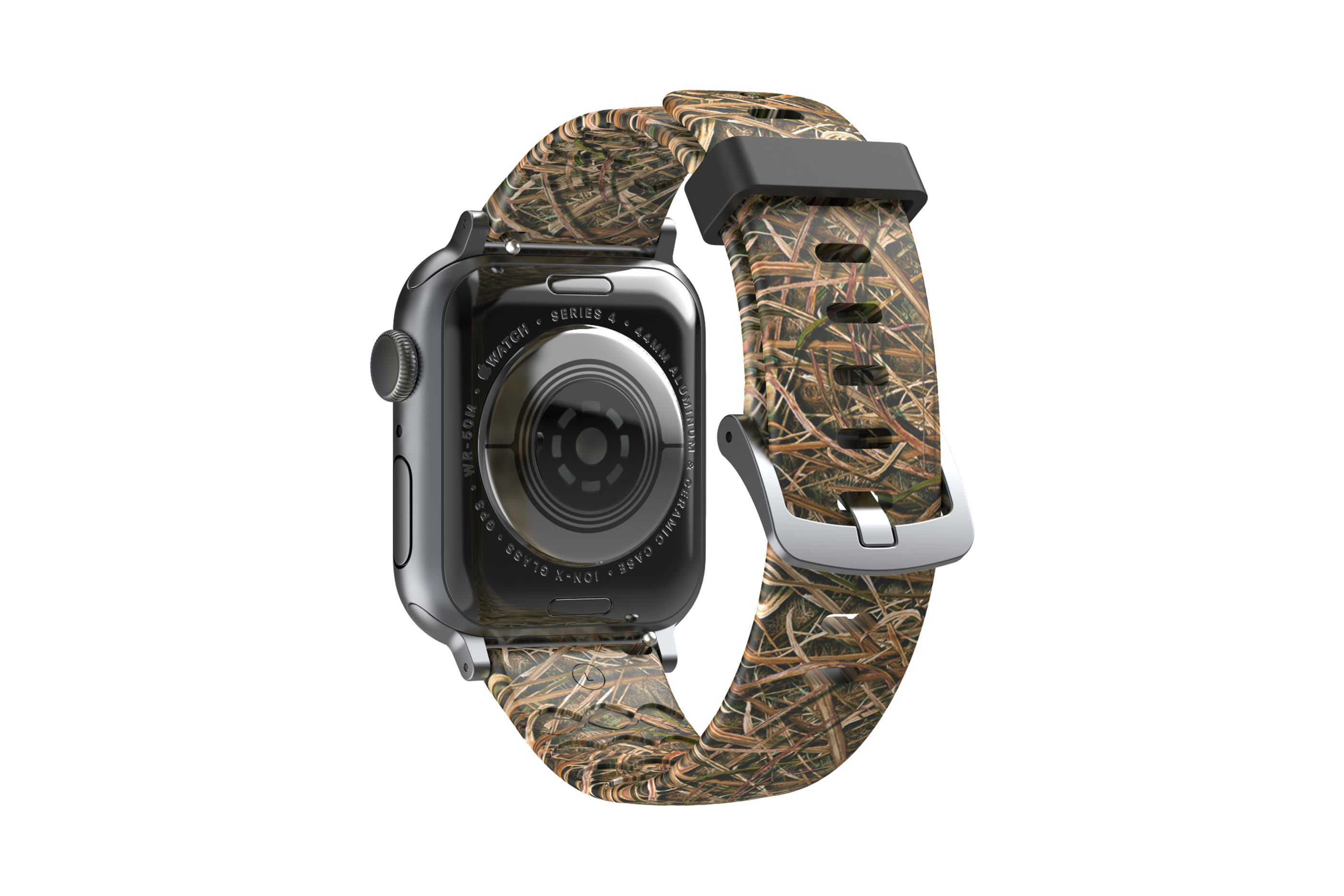 Mossy Oak Blades Apple Watch Band with silver hardware viewed from rear