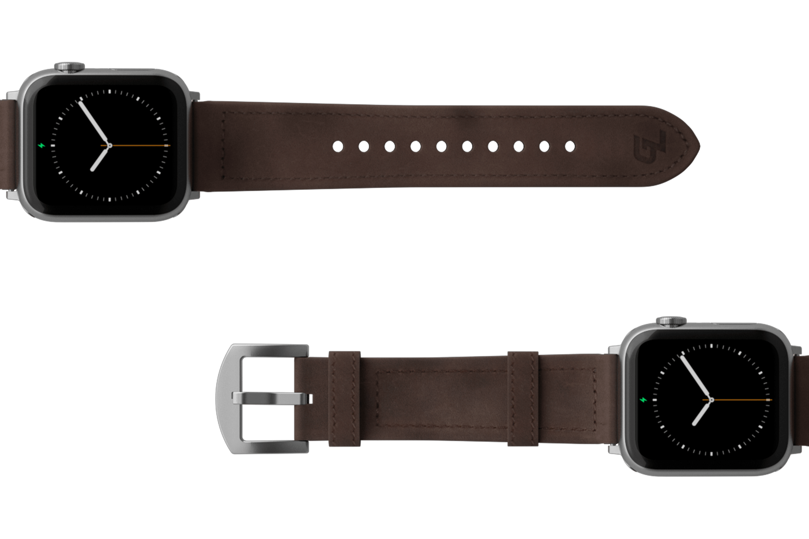 Vulcan Ascent Leather Apple watch band  with  silver hardware viewed top down
