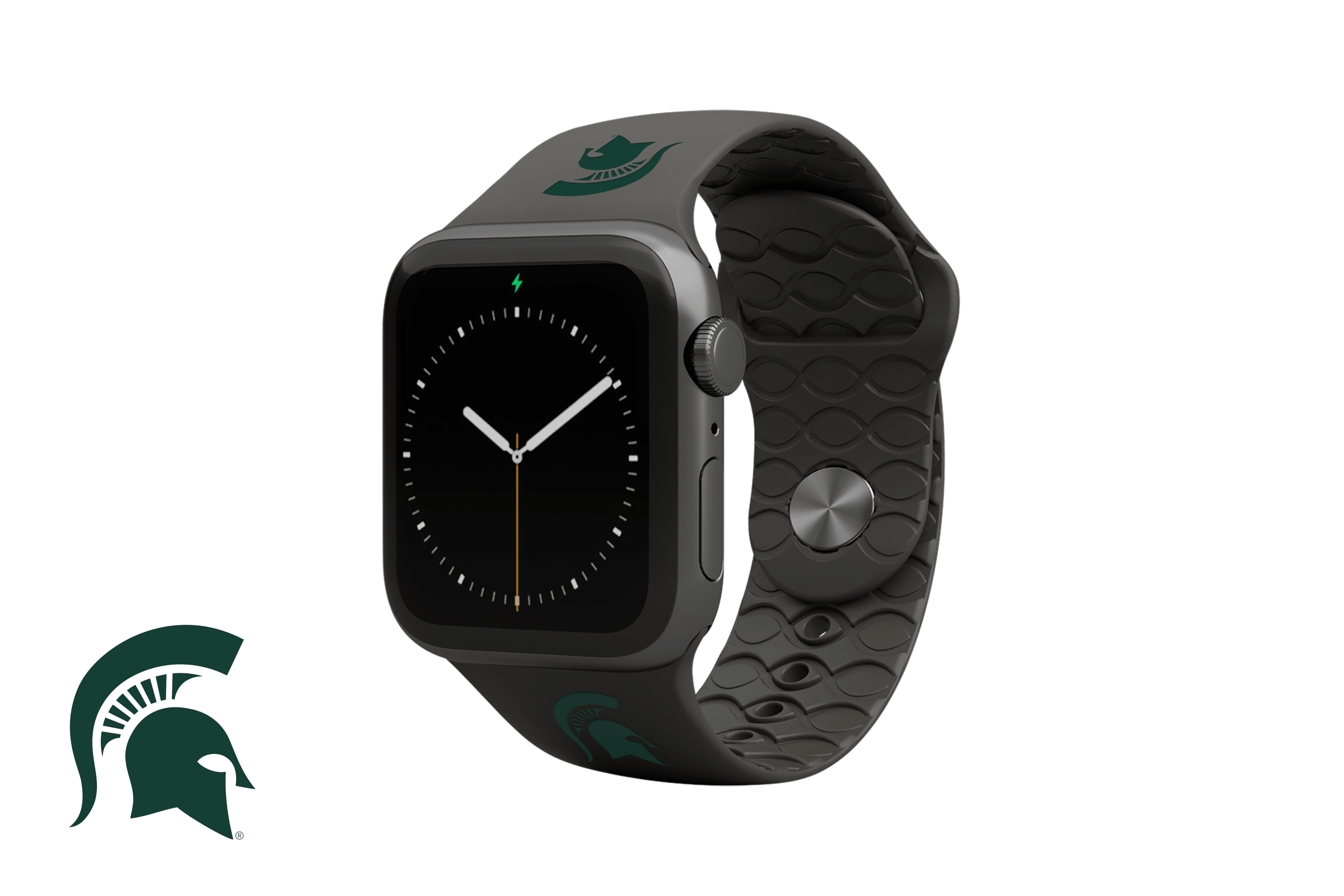 Apple Watch Band College Michigan State Black with gray hardware viewed front on