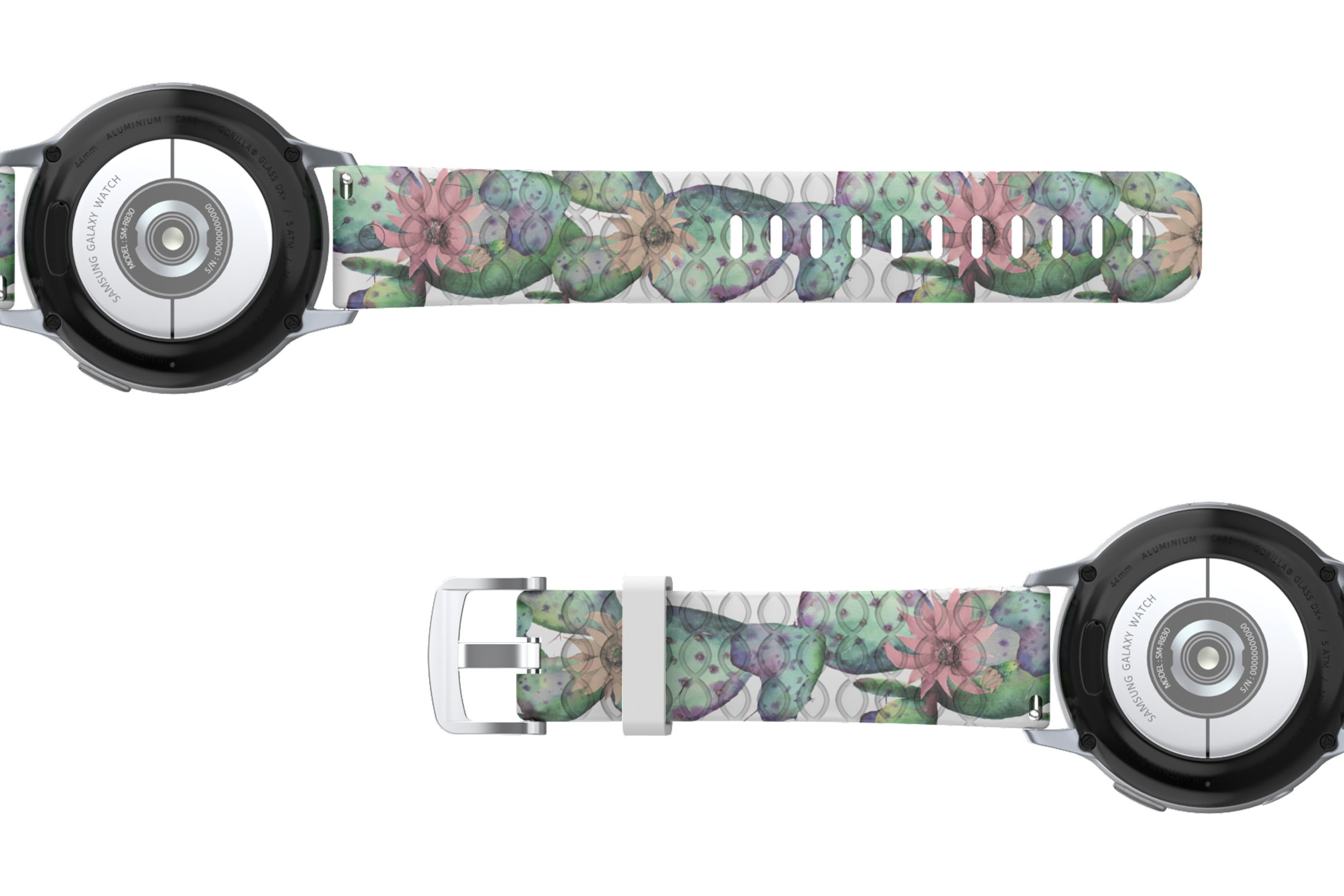 Cactus Bloom Samsung 22mm   watch band viewed bottom up