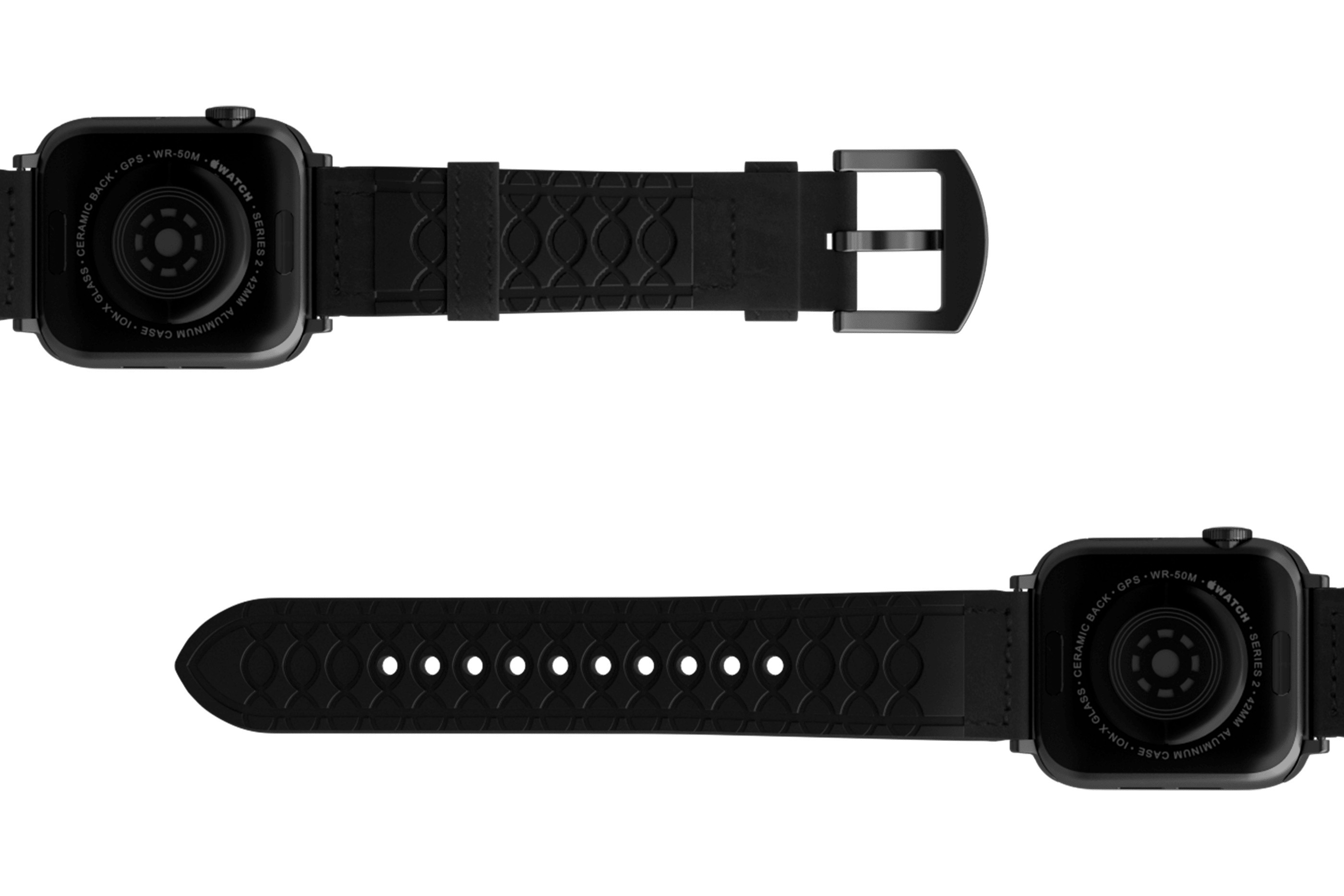 Vulcan Obsidian Black Leather Apple   watch band with gray hardware viewed bottom up