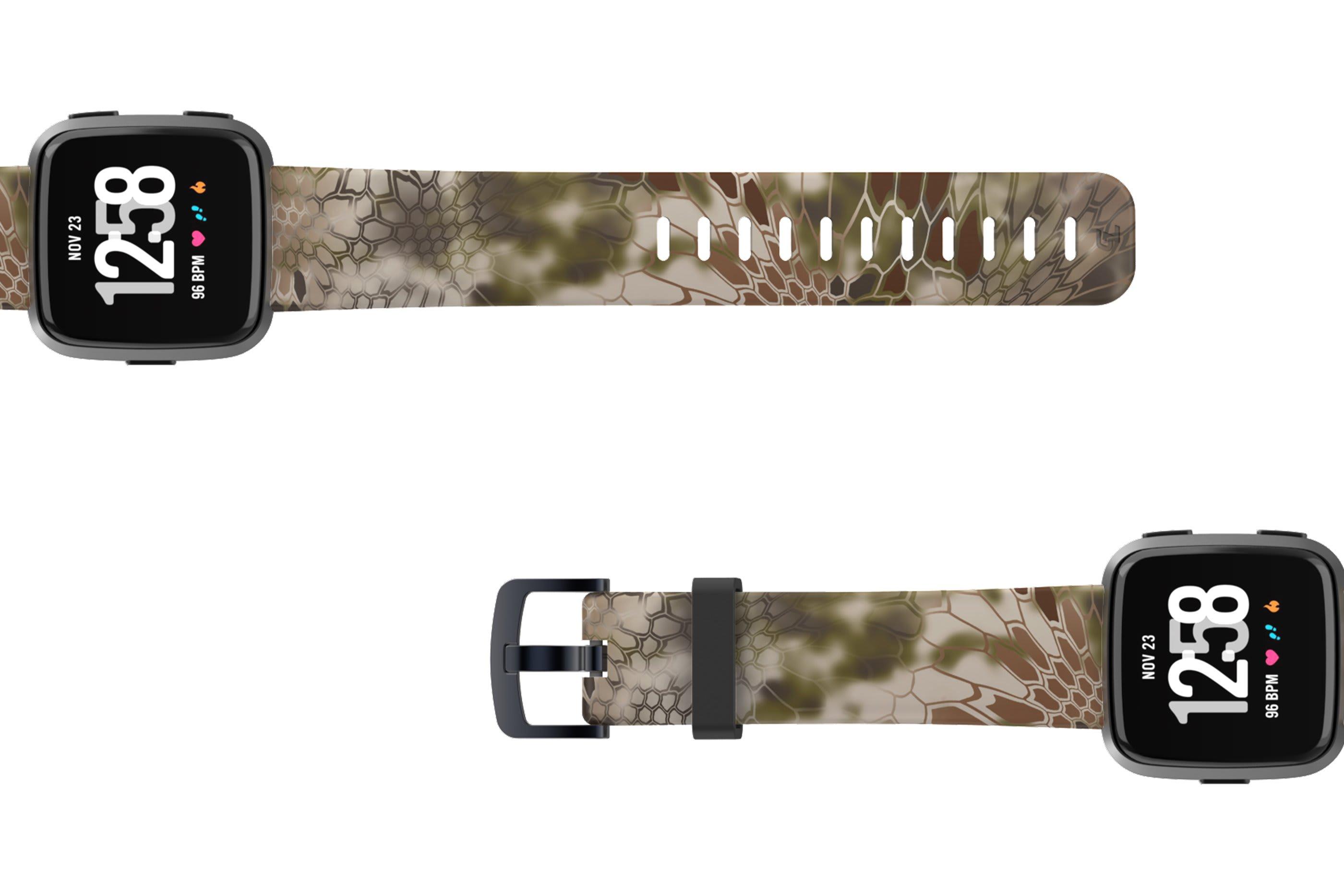 Kryptek Highlander Fitbit Versa   watch band viewed bottom up