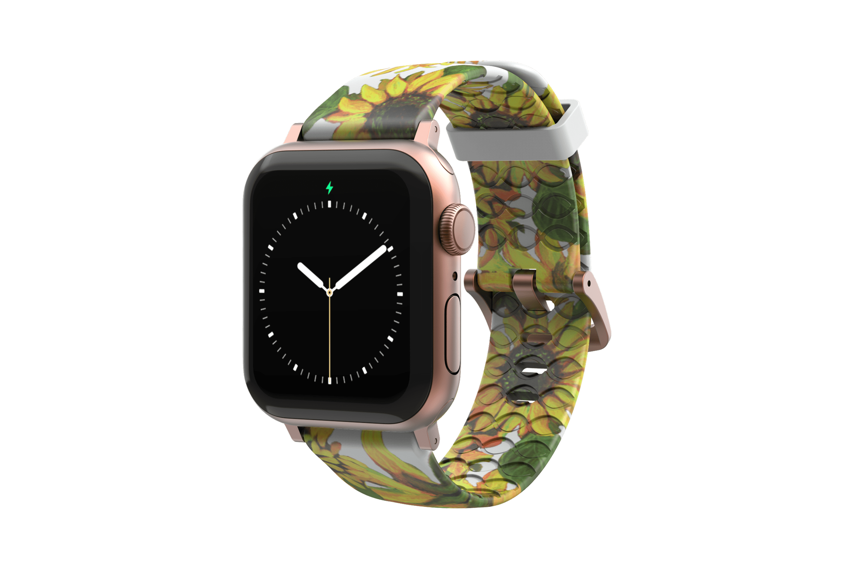 Sunflower Apple Watch Band with rose gold hardware viewed front on
