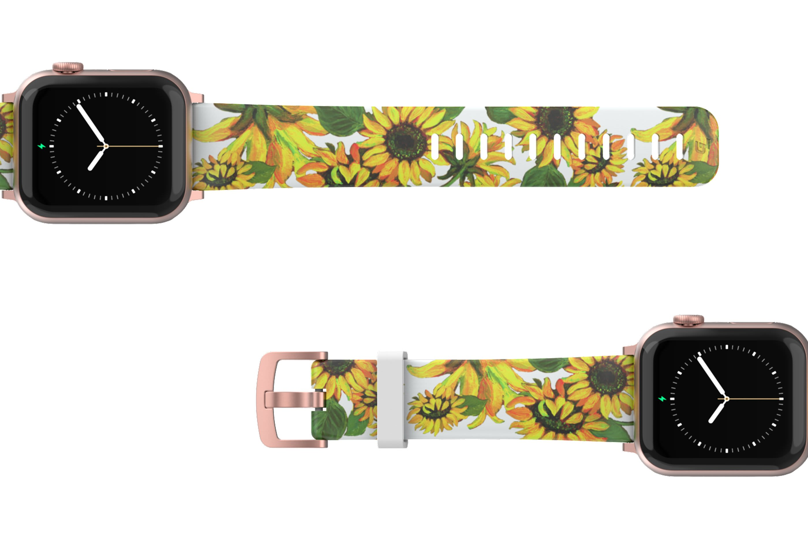 Sunflower Apple Watch Band with rose gold hardware viewed top down