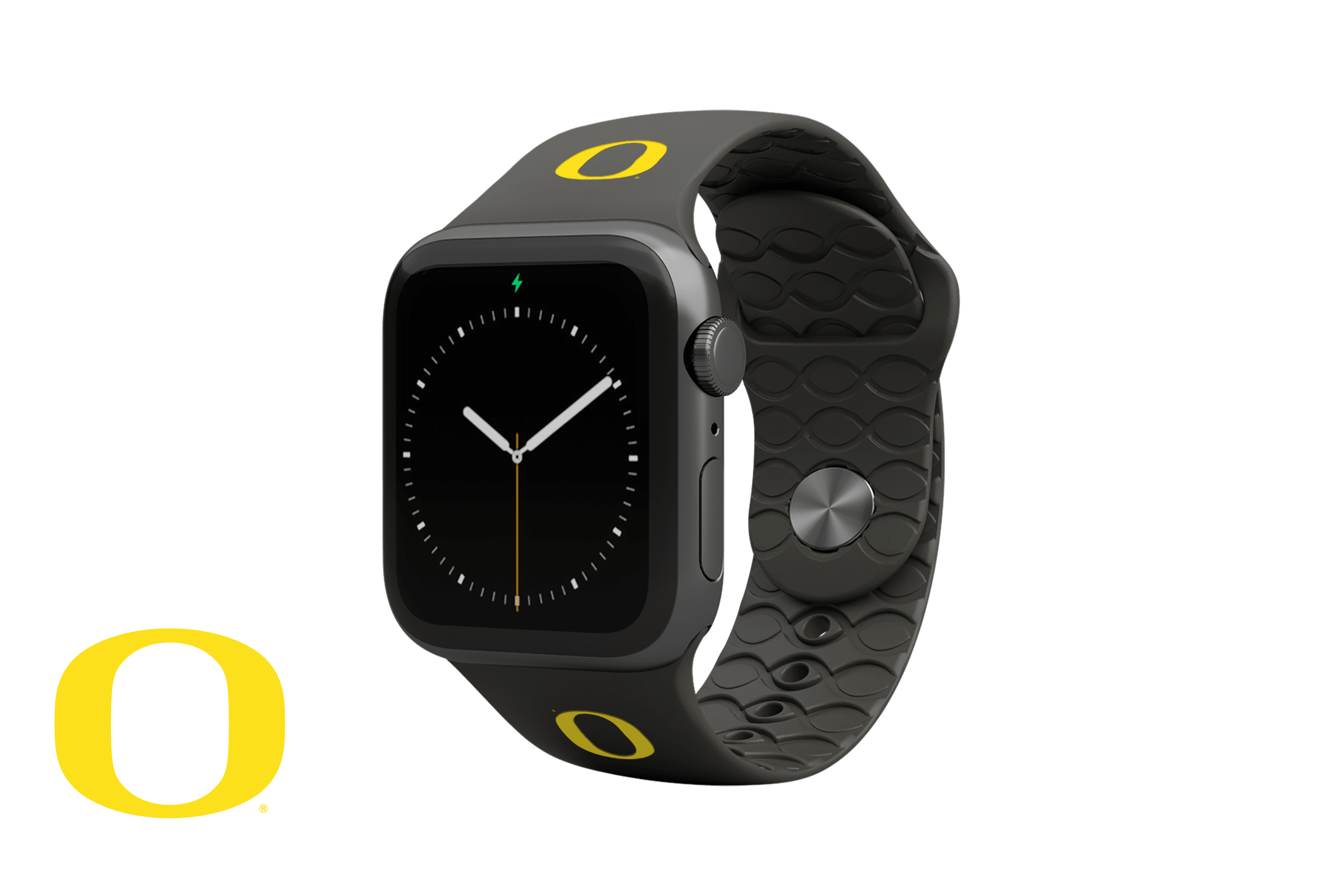 Apple Watch Band College Oregon Black with gray hardware viewed front on