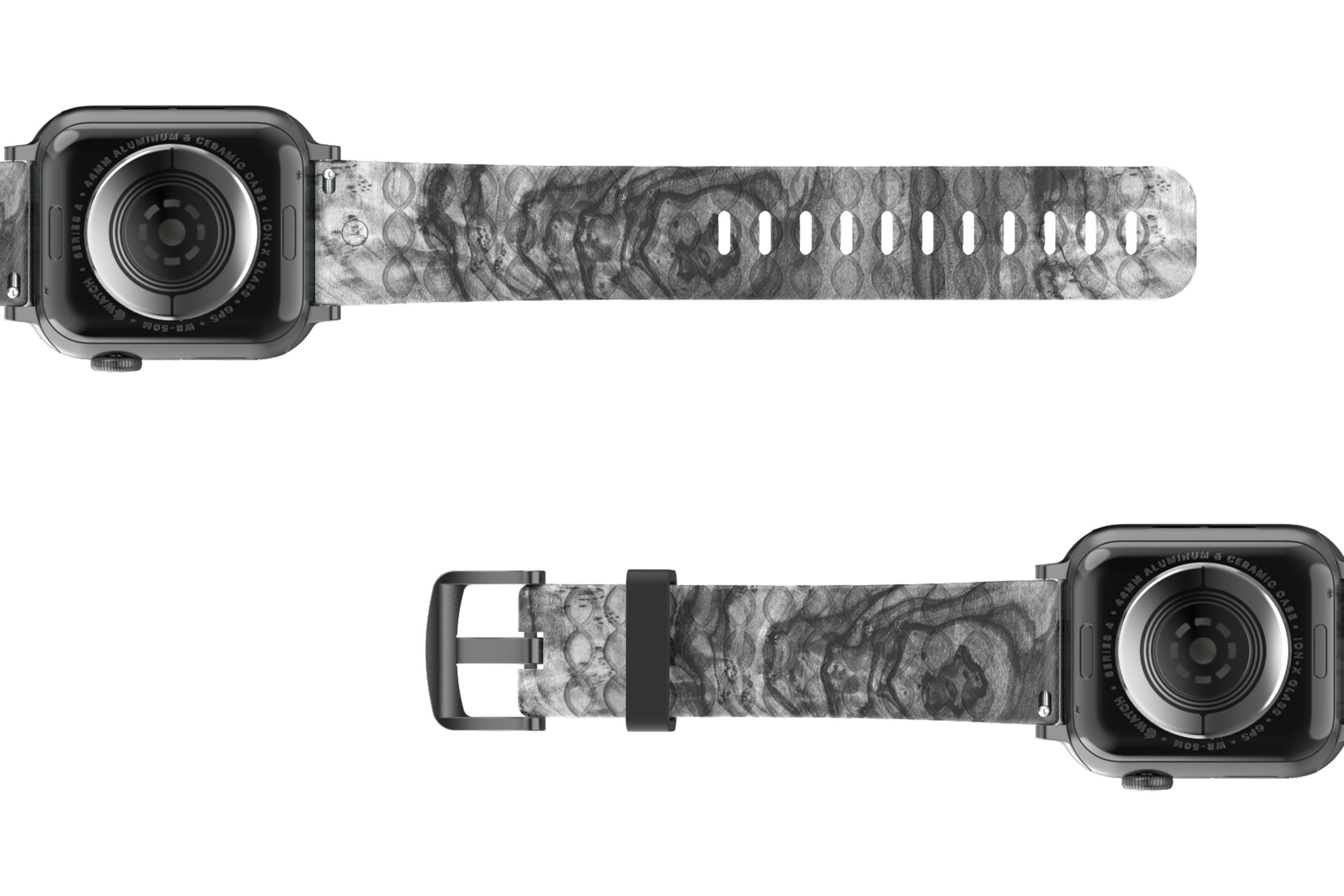 Nomad Relic Apple Watch Band with gray hardware viewed bottom up