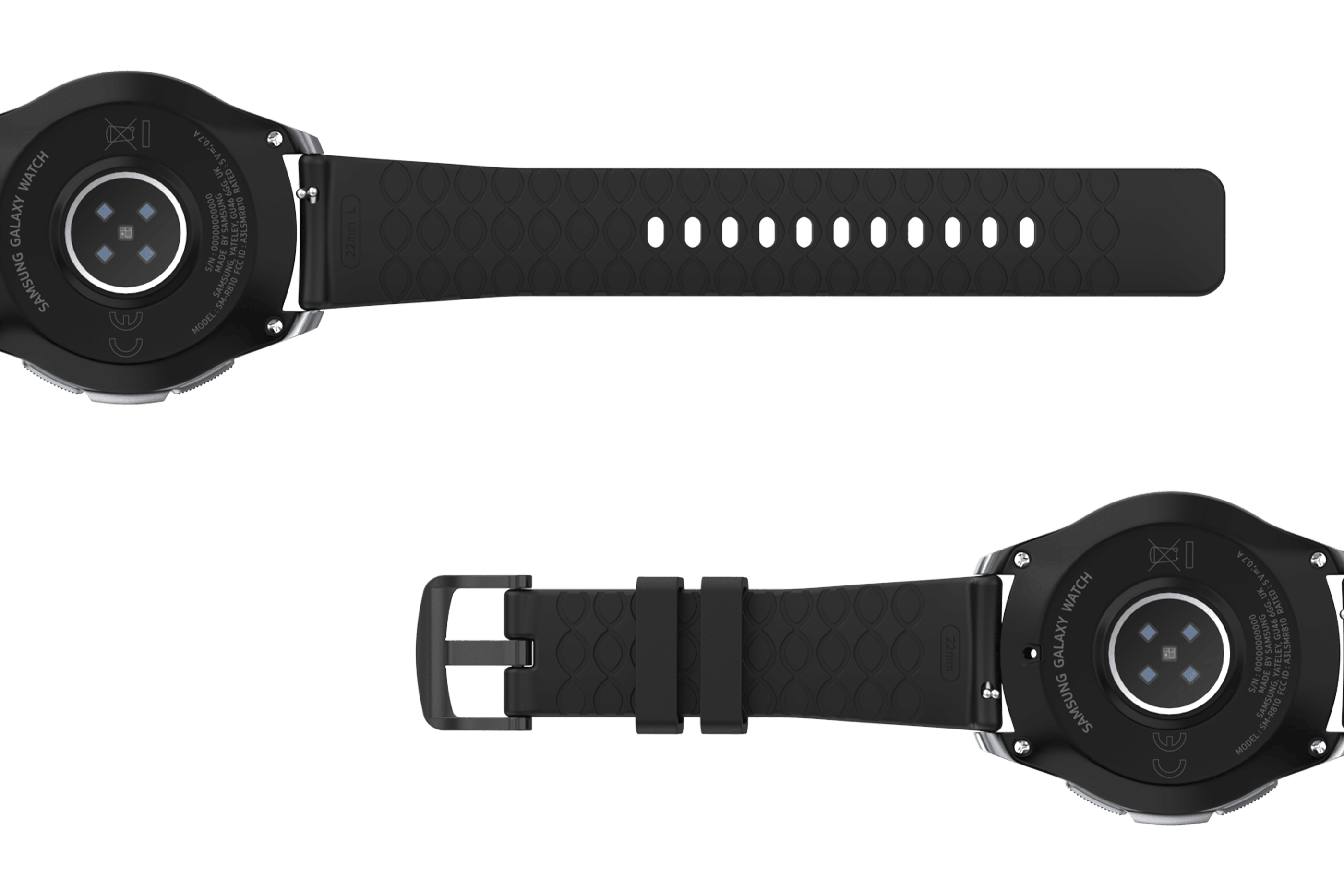 Solid Black 22mm  watch band viewed bottom up