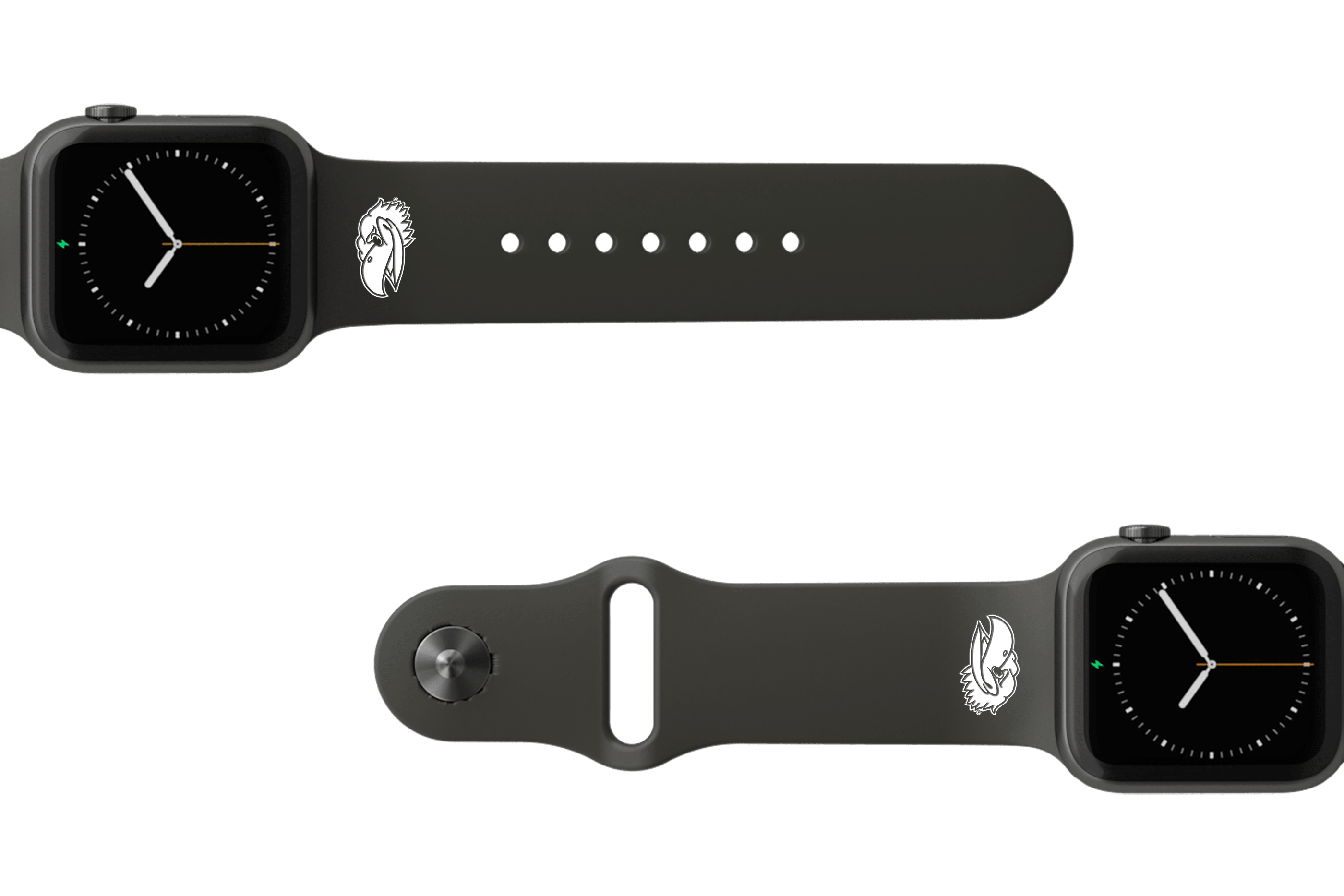 College Kansas Black   apple watch band with gray hardware viewed from rear