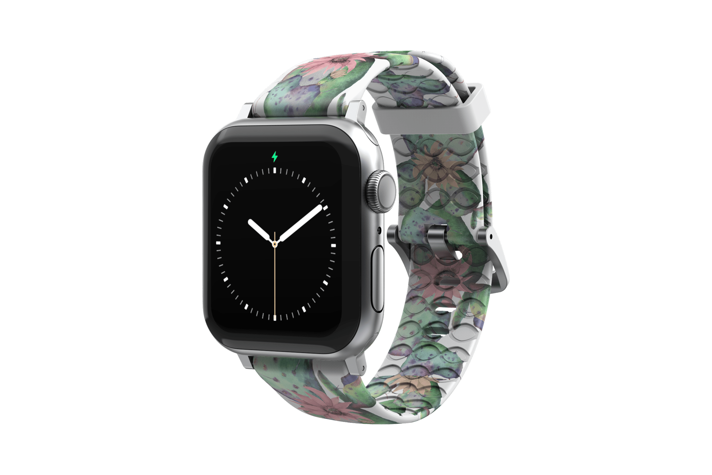 Cactus Bloom Apple Watch Band with silver hardware viewed front on