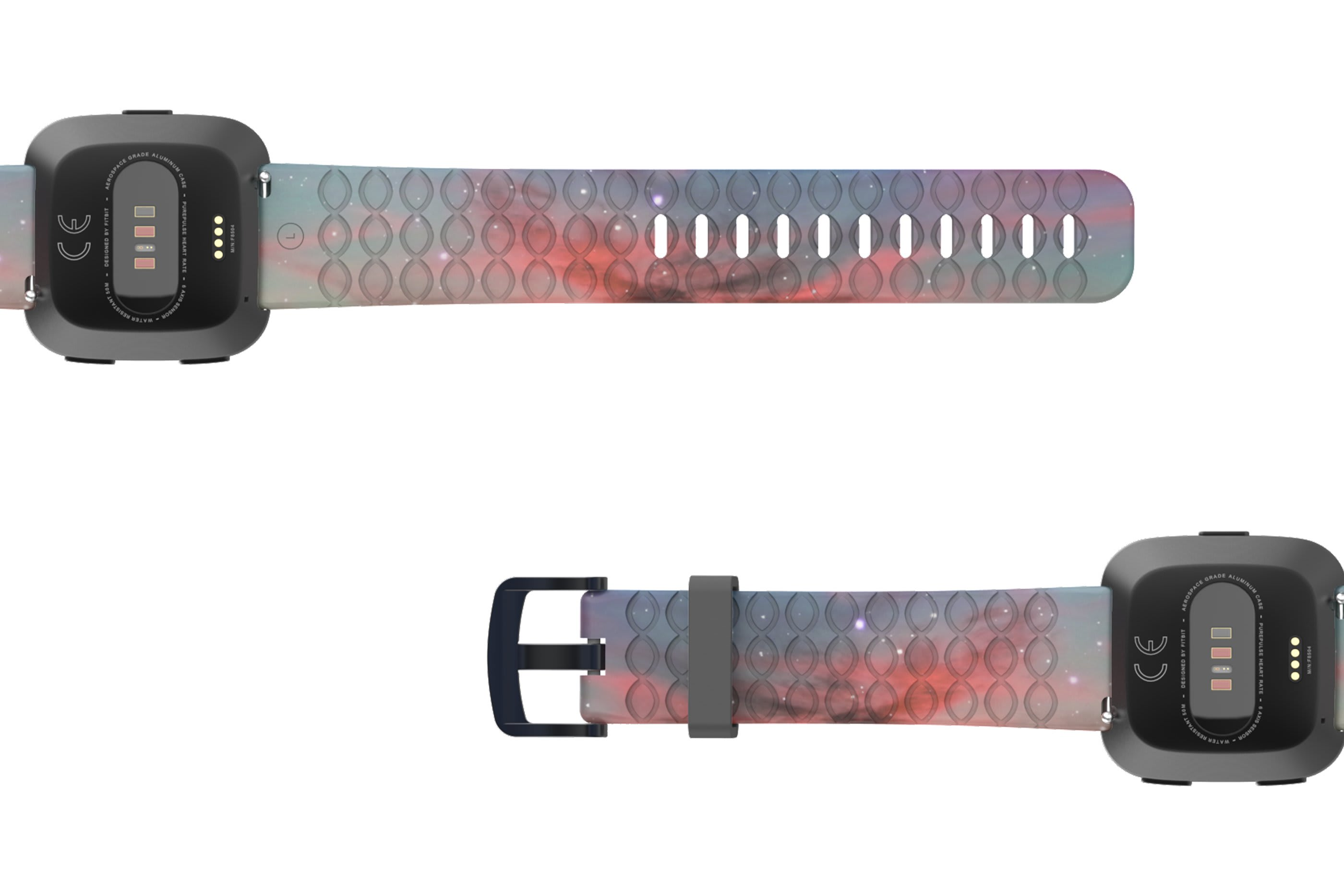 Cirrus Fitbit Versa   watch band with gray hardware viewed bottom up
