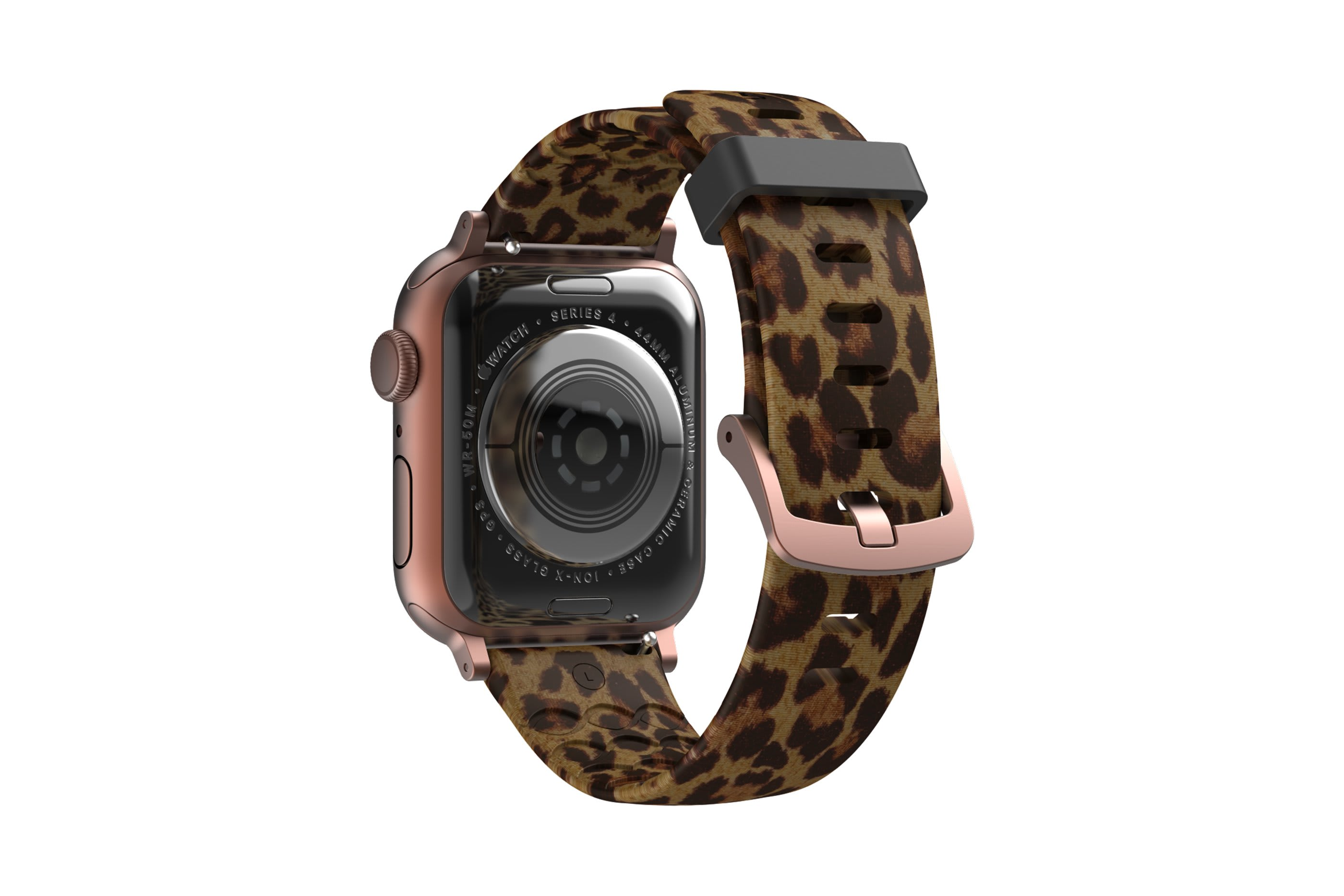 Leopard Apple Watch Band with rose gold hardware viewed from rear