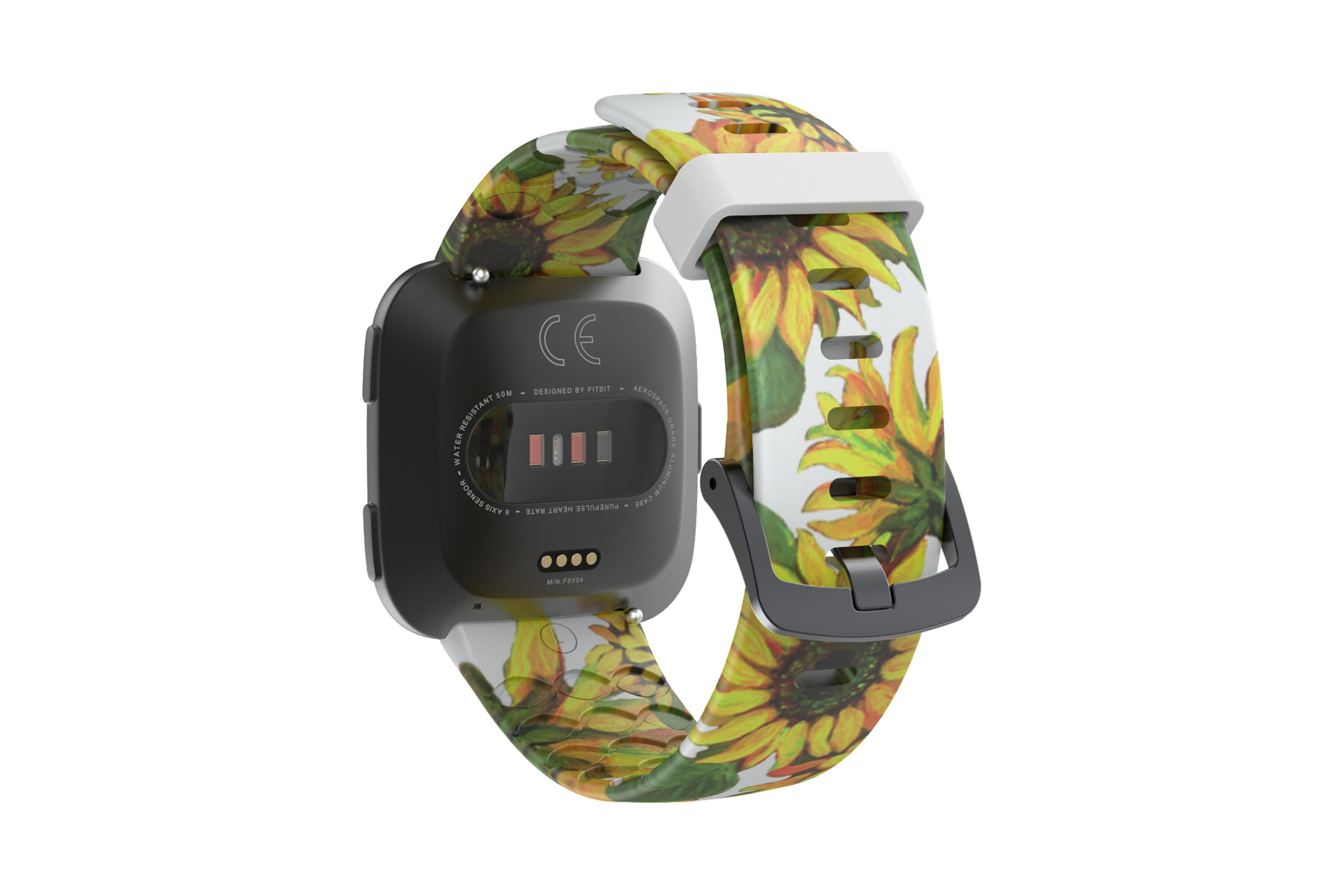 Sunflower fitbit versa watch band with gray hardware viewed from top down