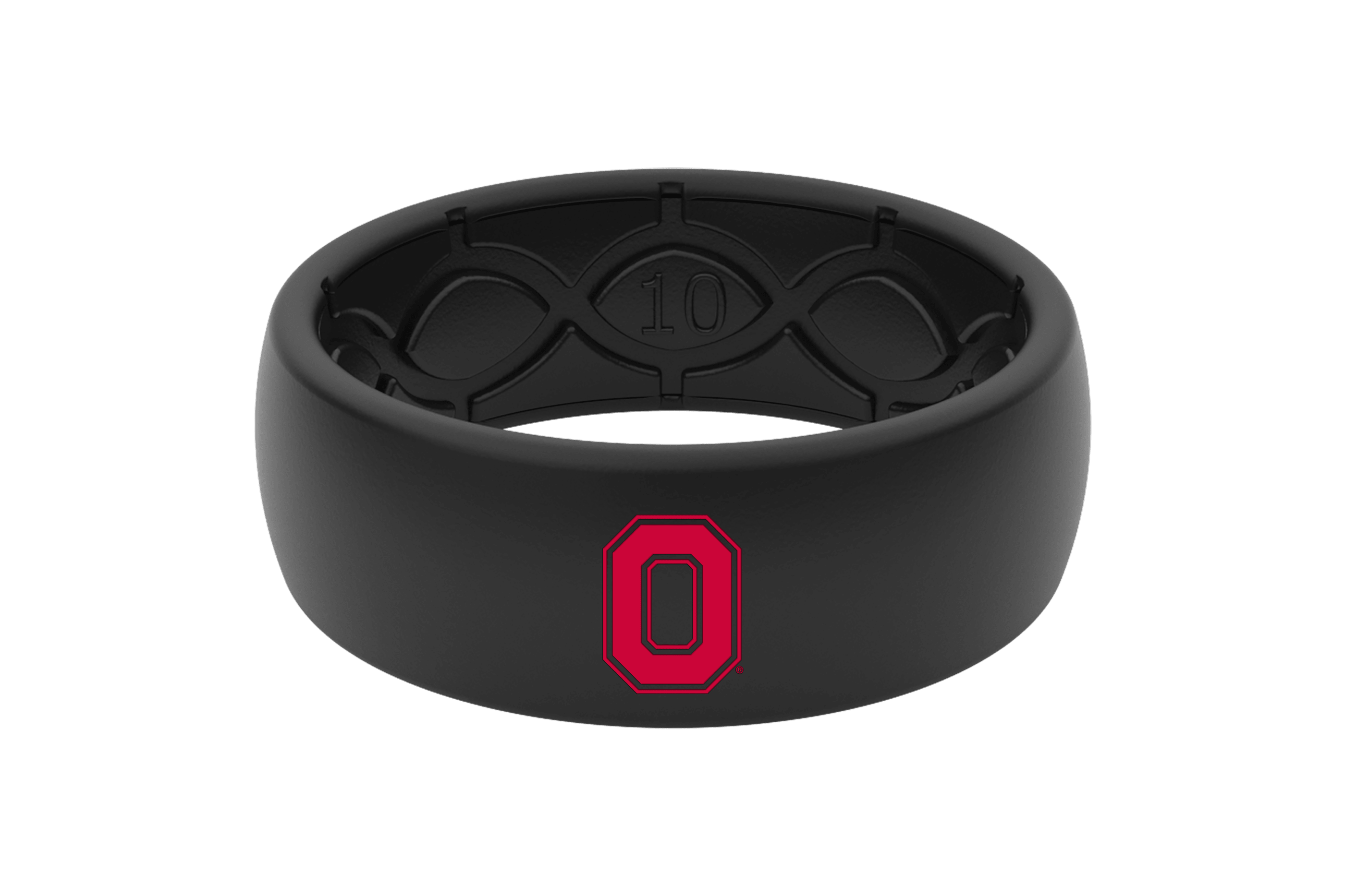 Ohio State College ring with black color fill viewed front on