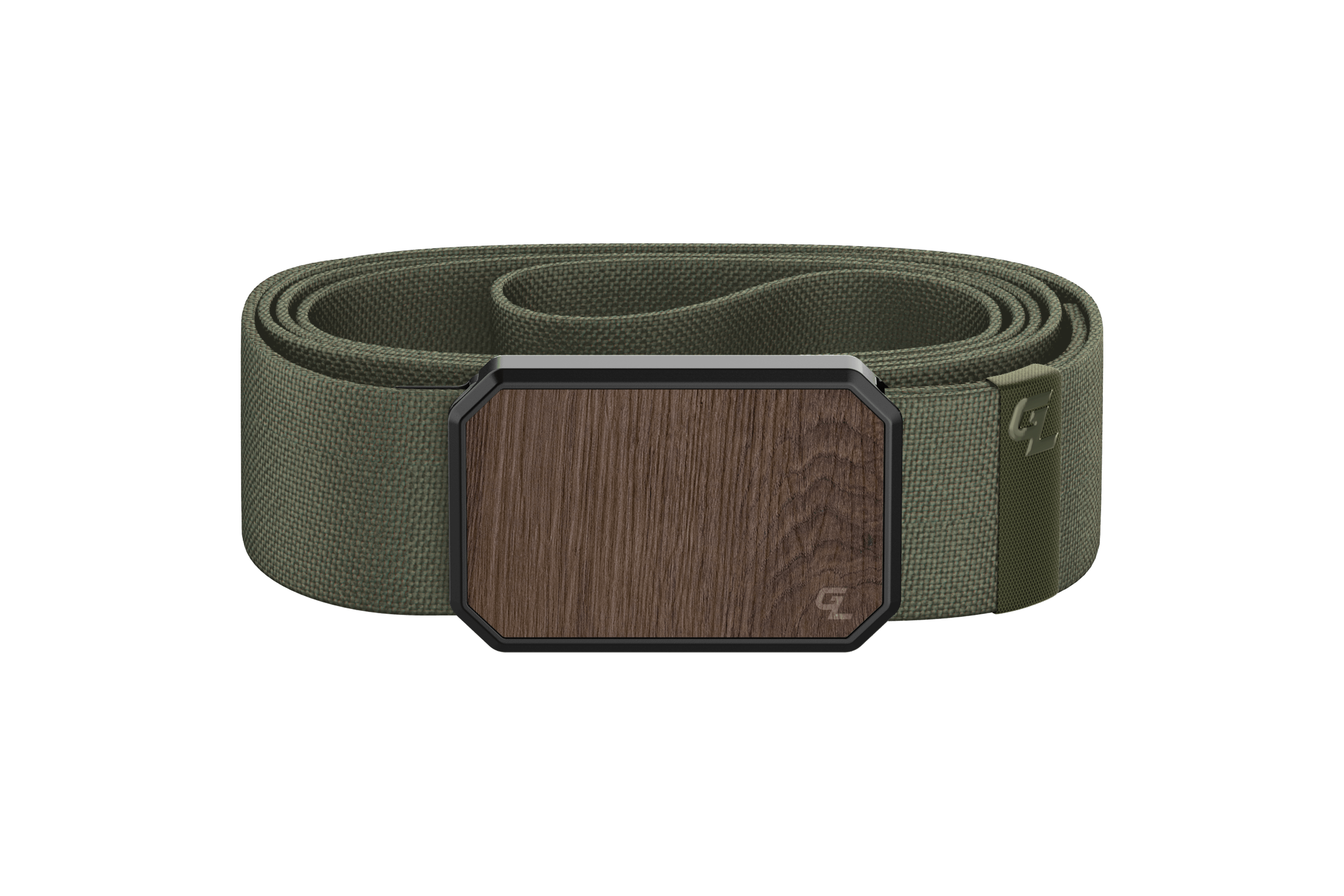 Groove Belt Walnut/Olive  viewed front on