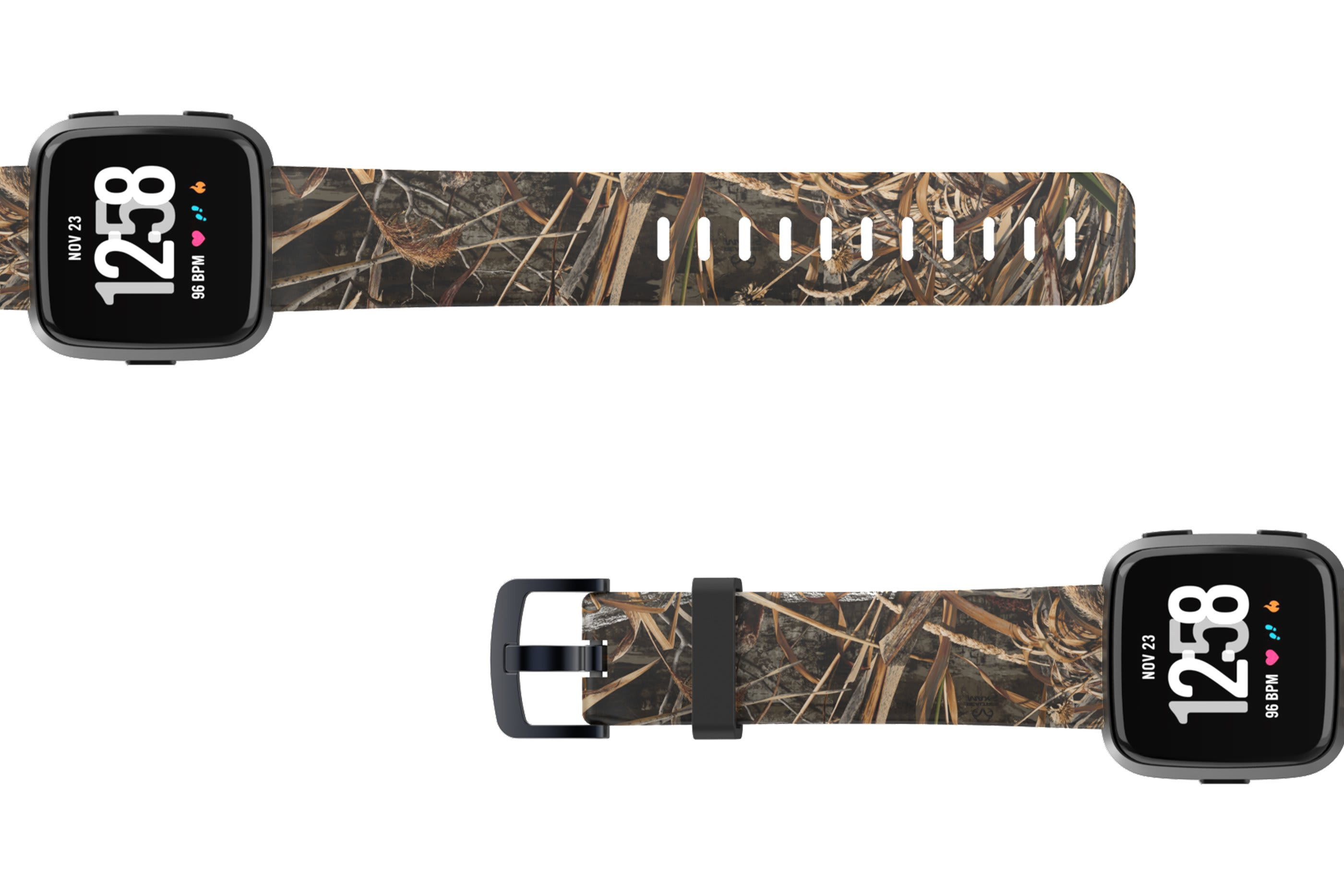 Realtree Max 5 Fitbit Versa watch band viewed top down