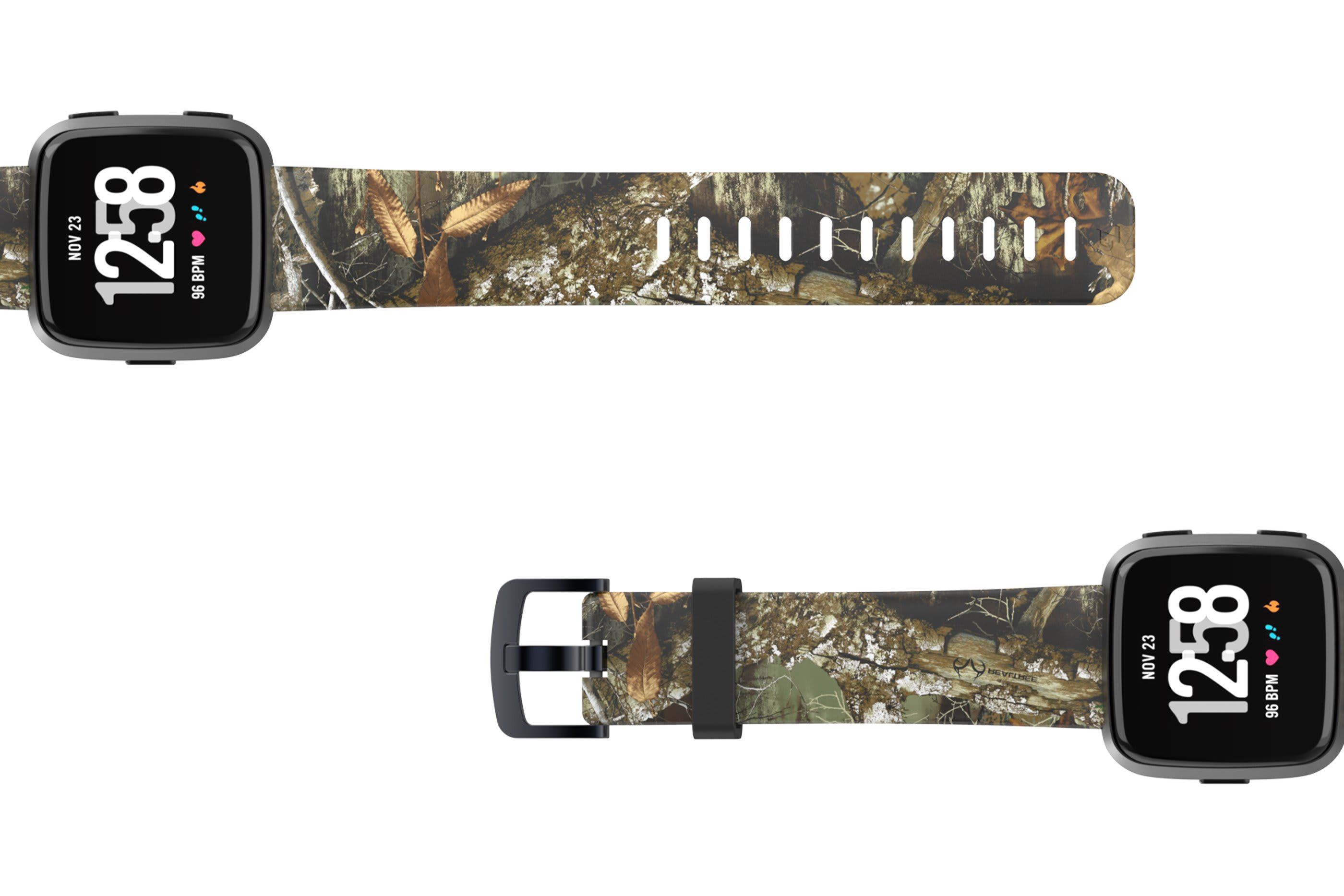 Realtree Edge Fitbit Versa watch band viewed top down