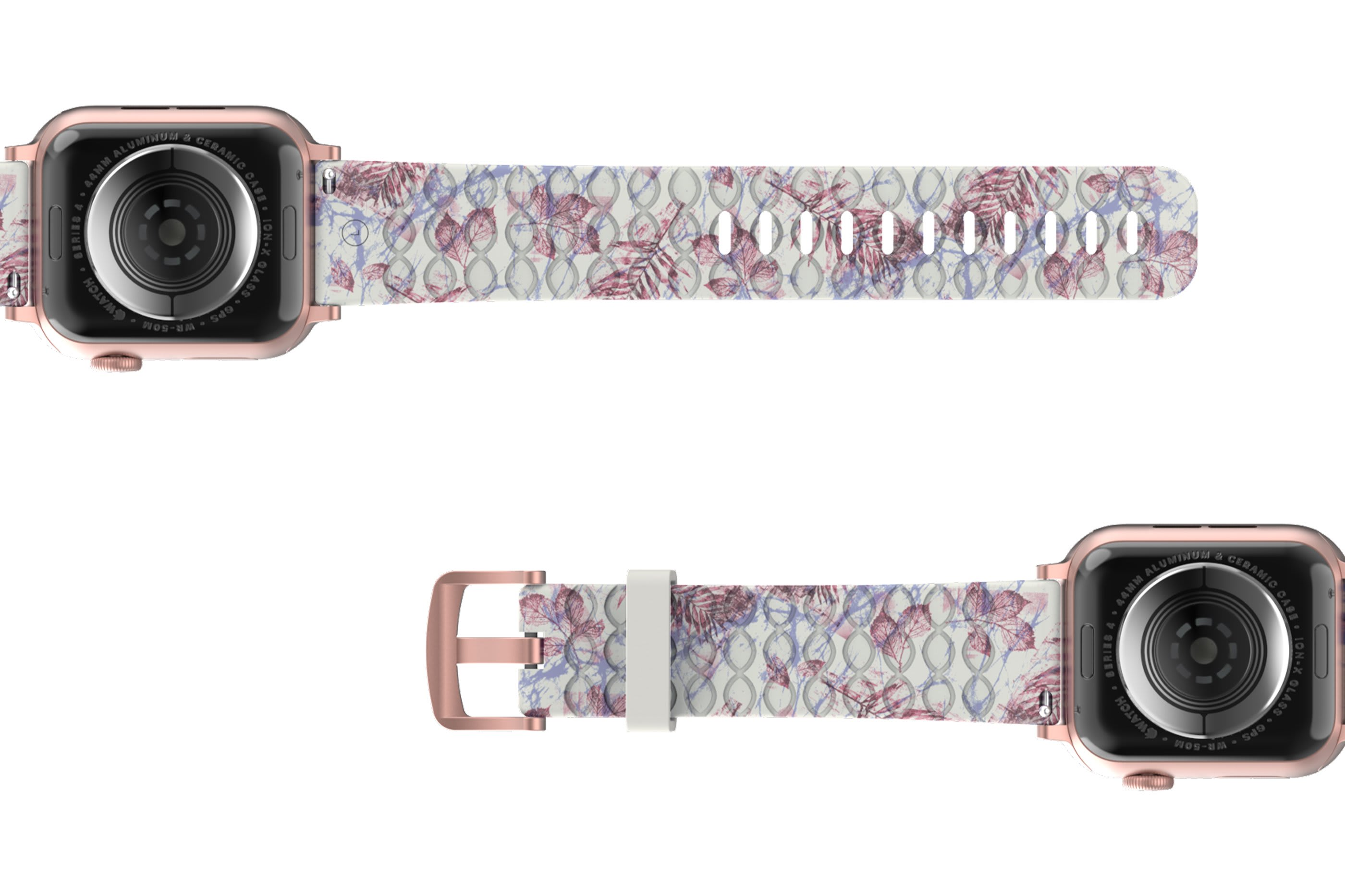 Breeze Apple Watch Band with gray hardware viewed bottom up