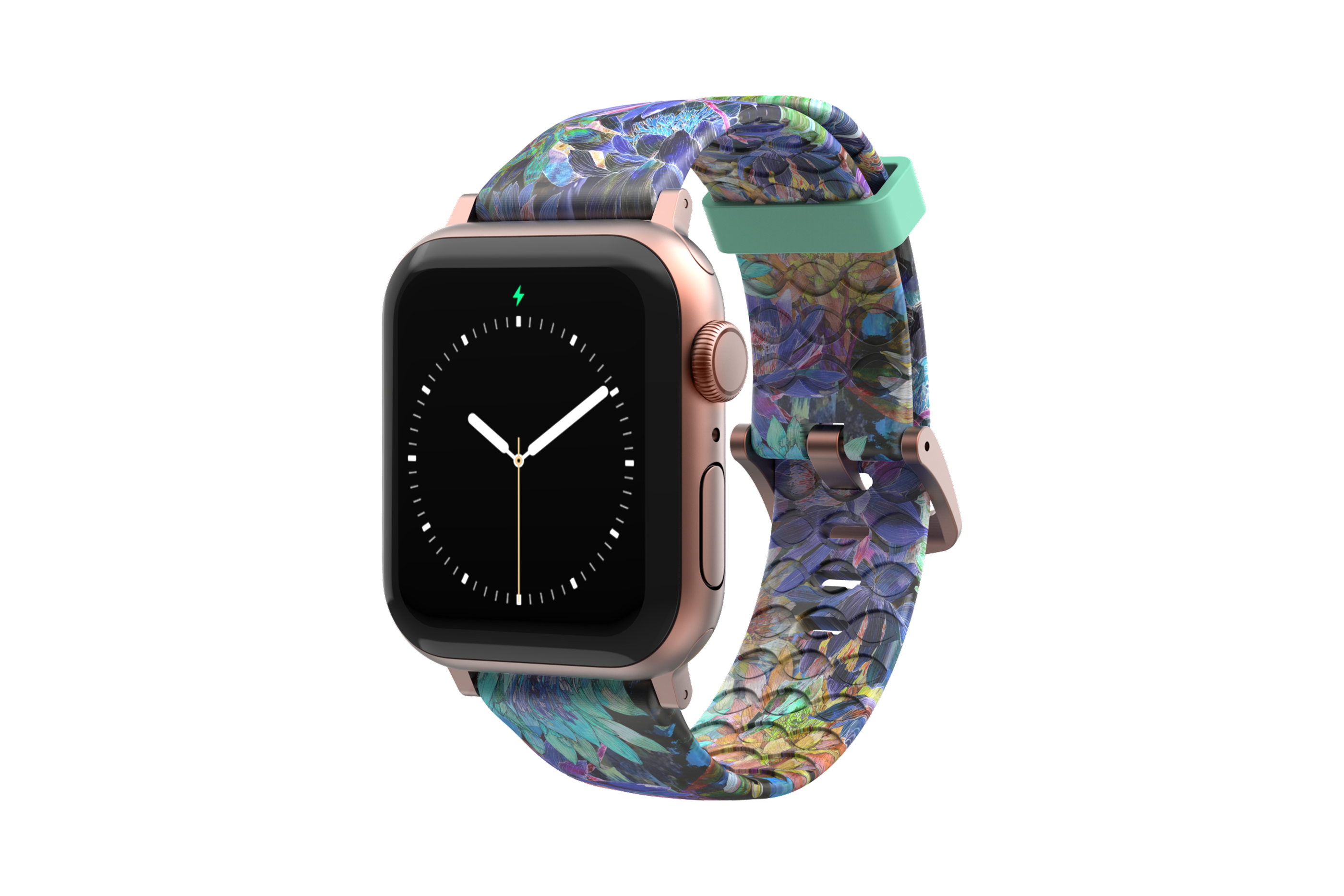 Twilight Blossom - Apple Watch Band with rose gold hardware viewed front on