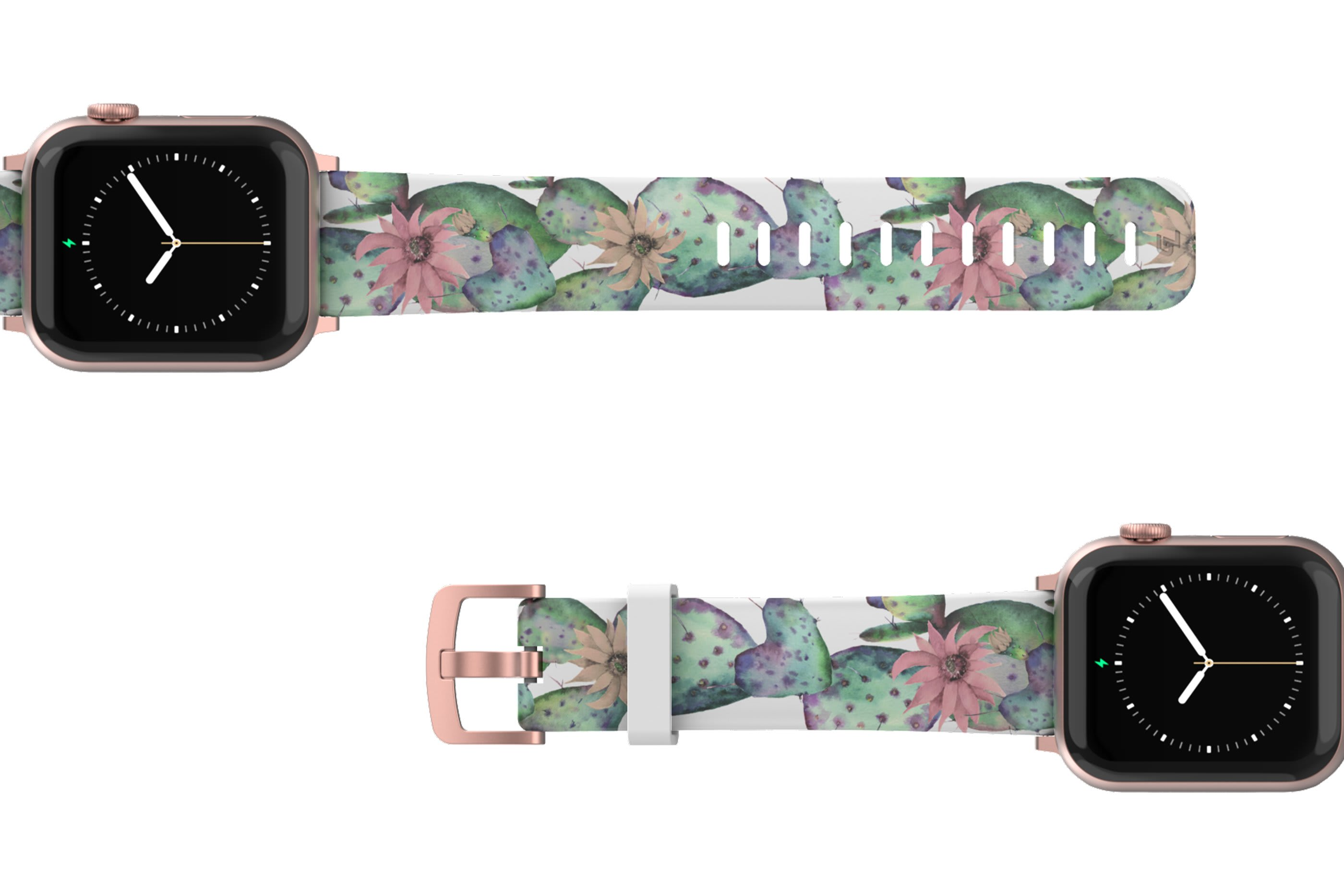 Cactus Bloom Apple Watch Band with rose gold hardware viewed top down