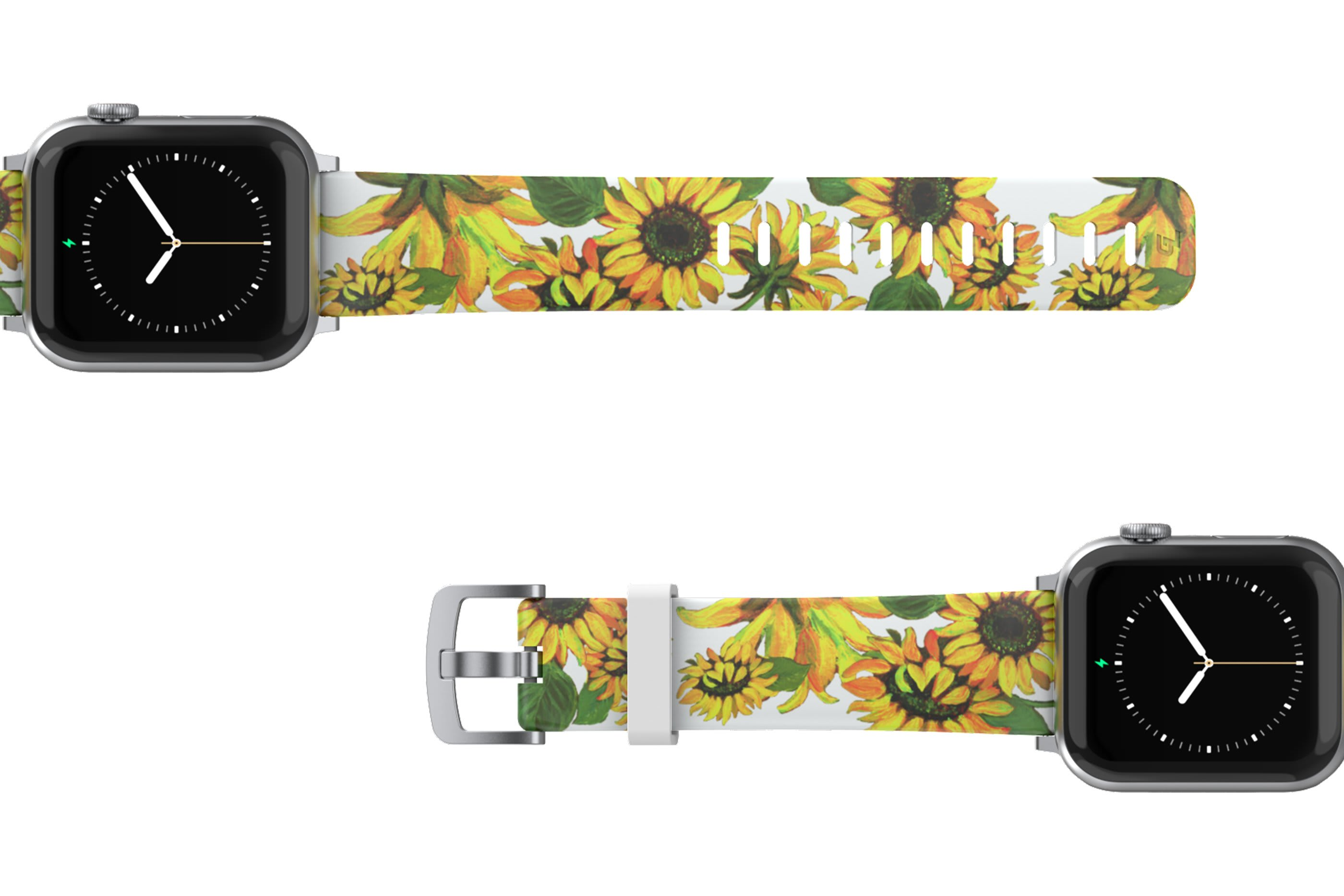 Sunflower Apple Watch Band with silver hardware viewed top down