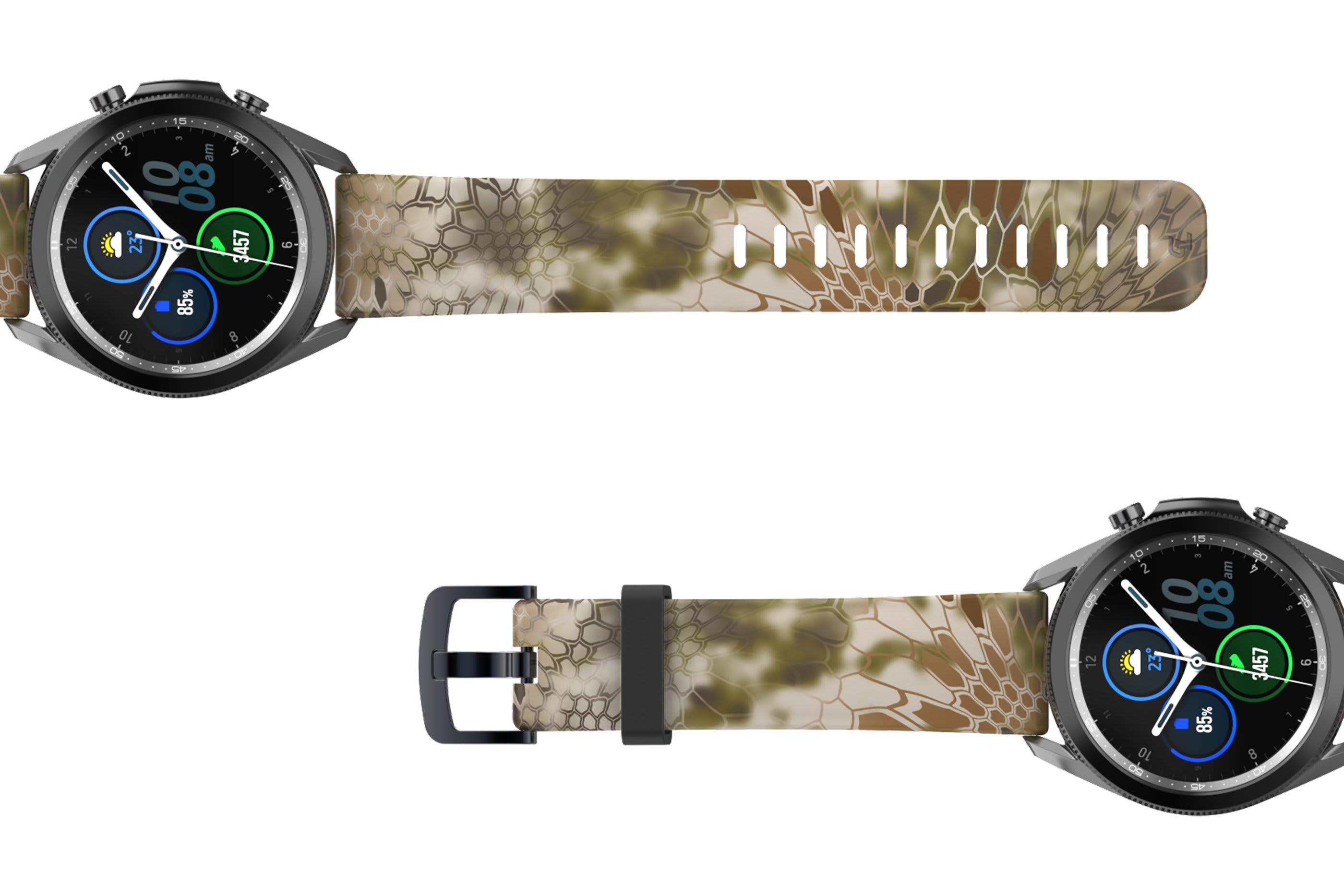 Kryptek Highlander Samsung 22mm watch band viewed top down