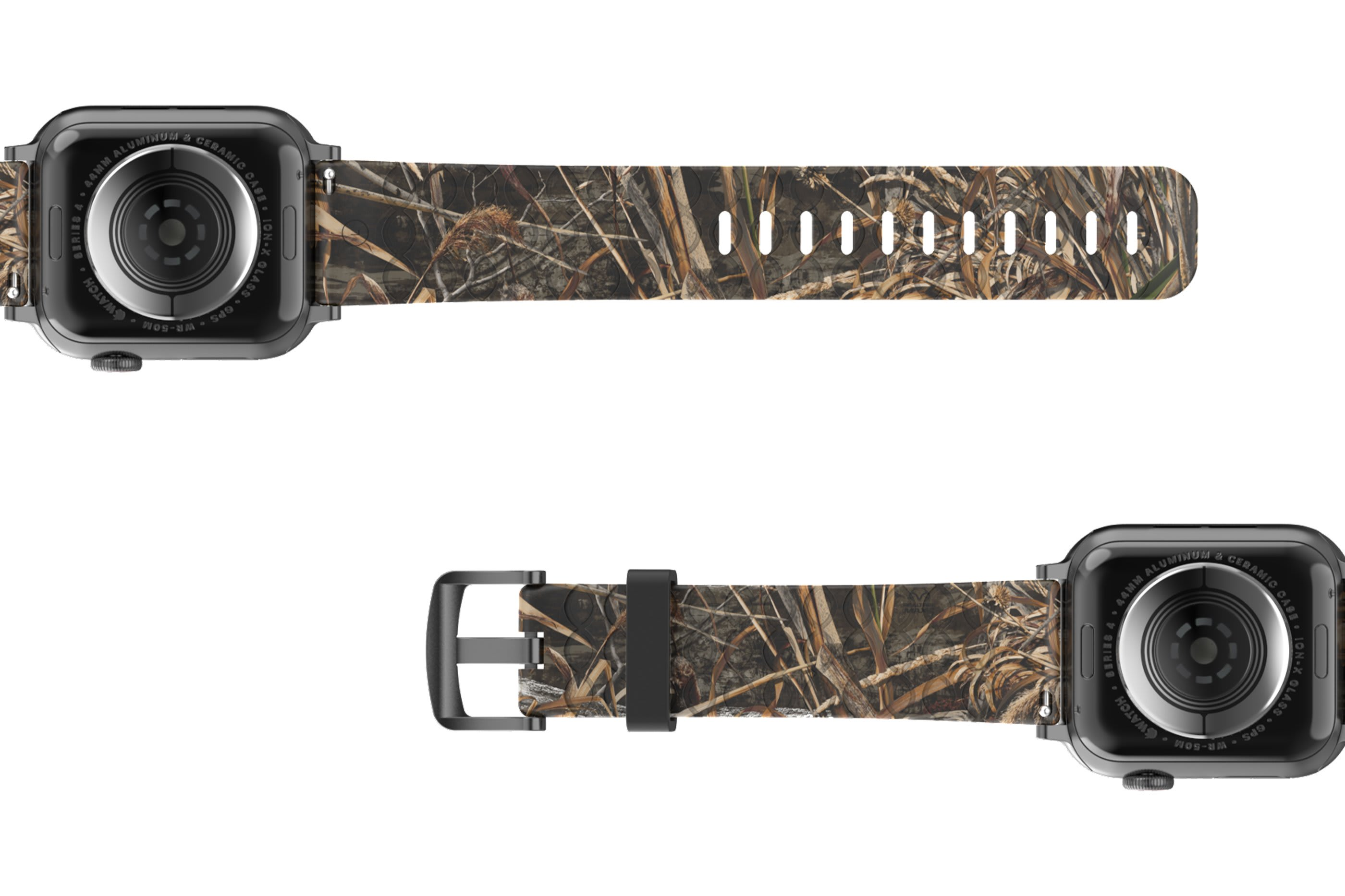 Realtree Max 5 Apple Watch Band with silver hardware viewed bottom up
