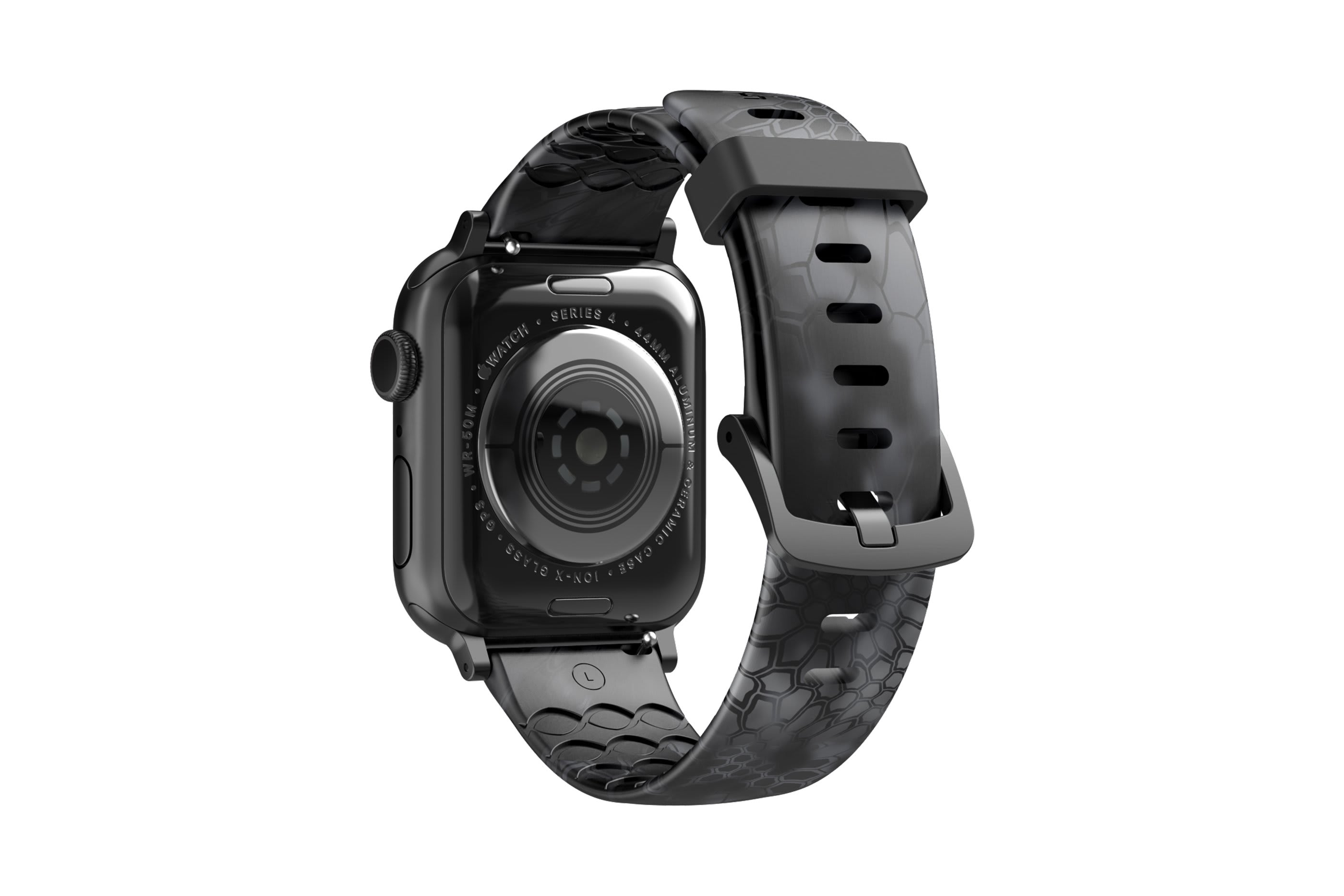 Kryptek Typhon Apple Watch Band with gray hardware viewed from rear
