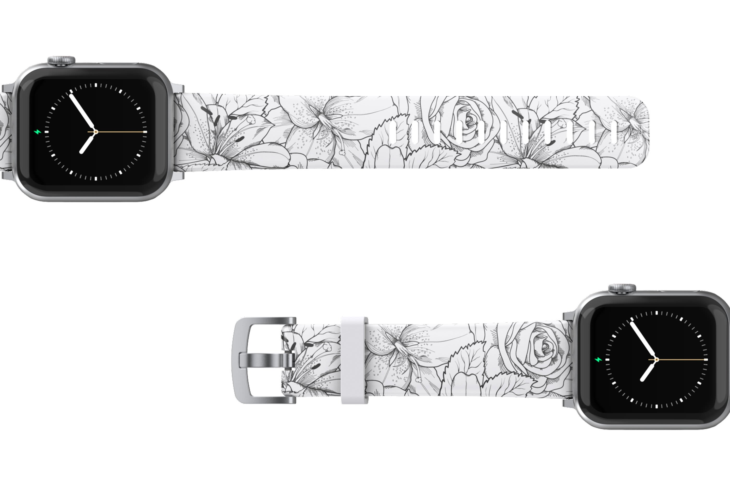 Winter Rose Apple Watch Band with silver hardware viewed top down
