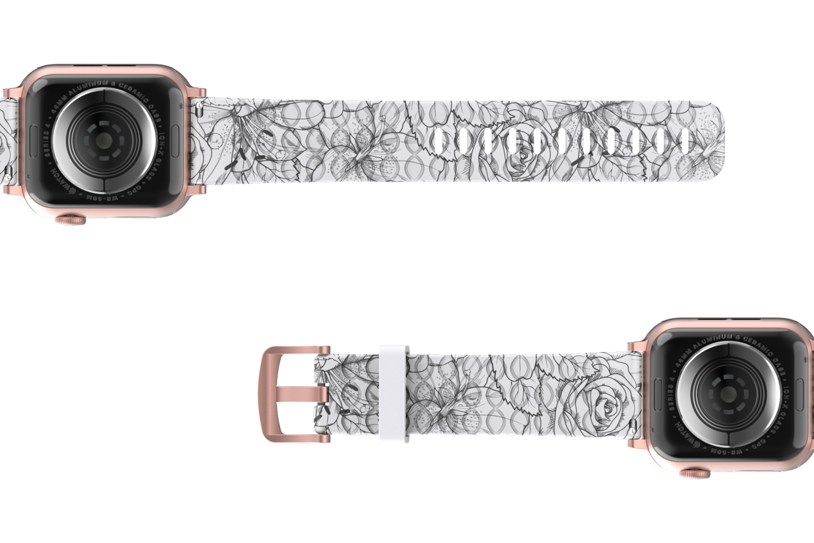 Winter Rose Apple Watch Band with rose gold hardware viewed bottom up