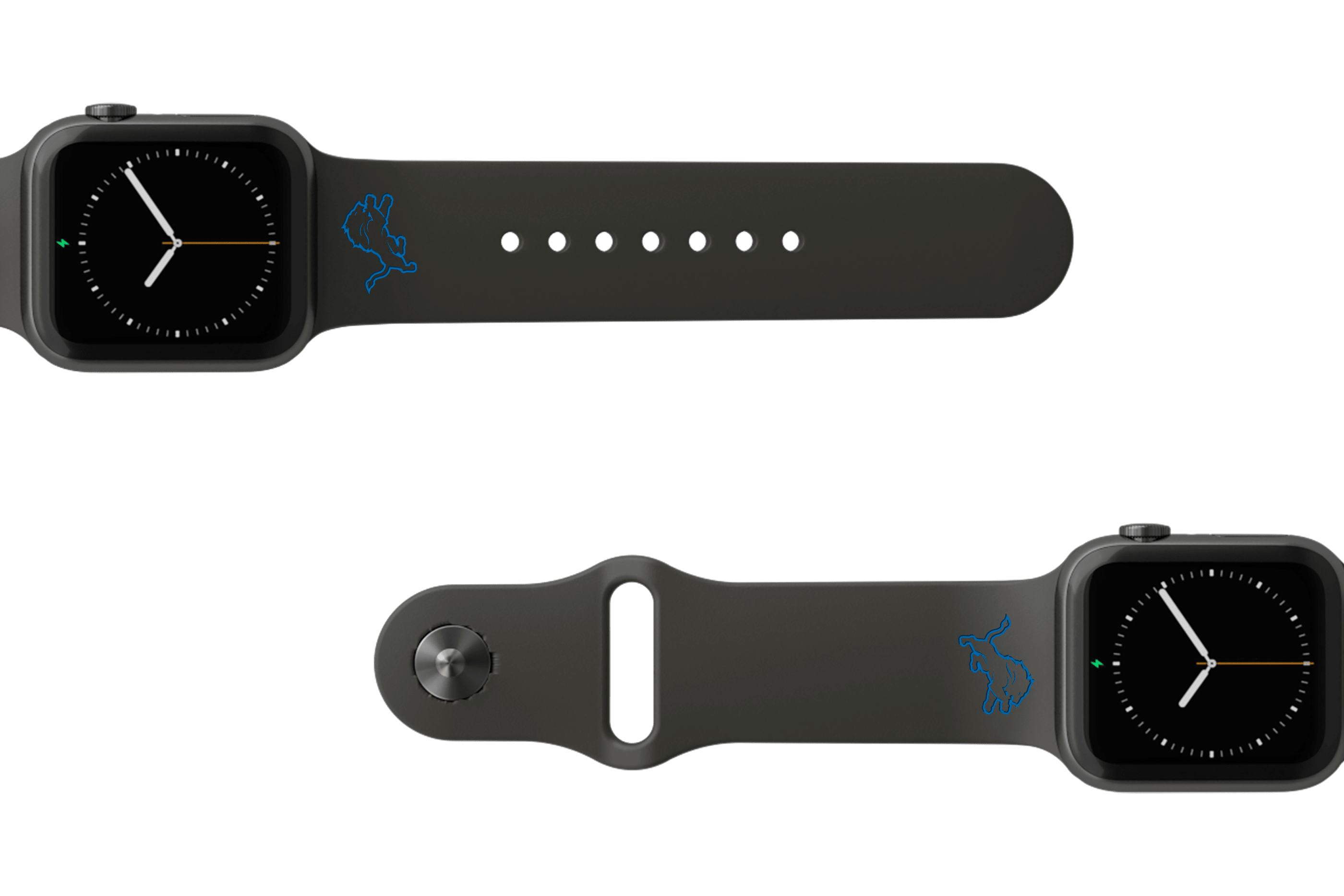 NFL Detriot Lions Black    apple watch band with gray hardware viewed from top down