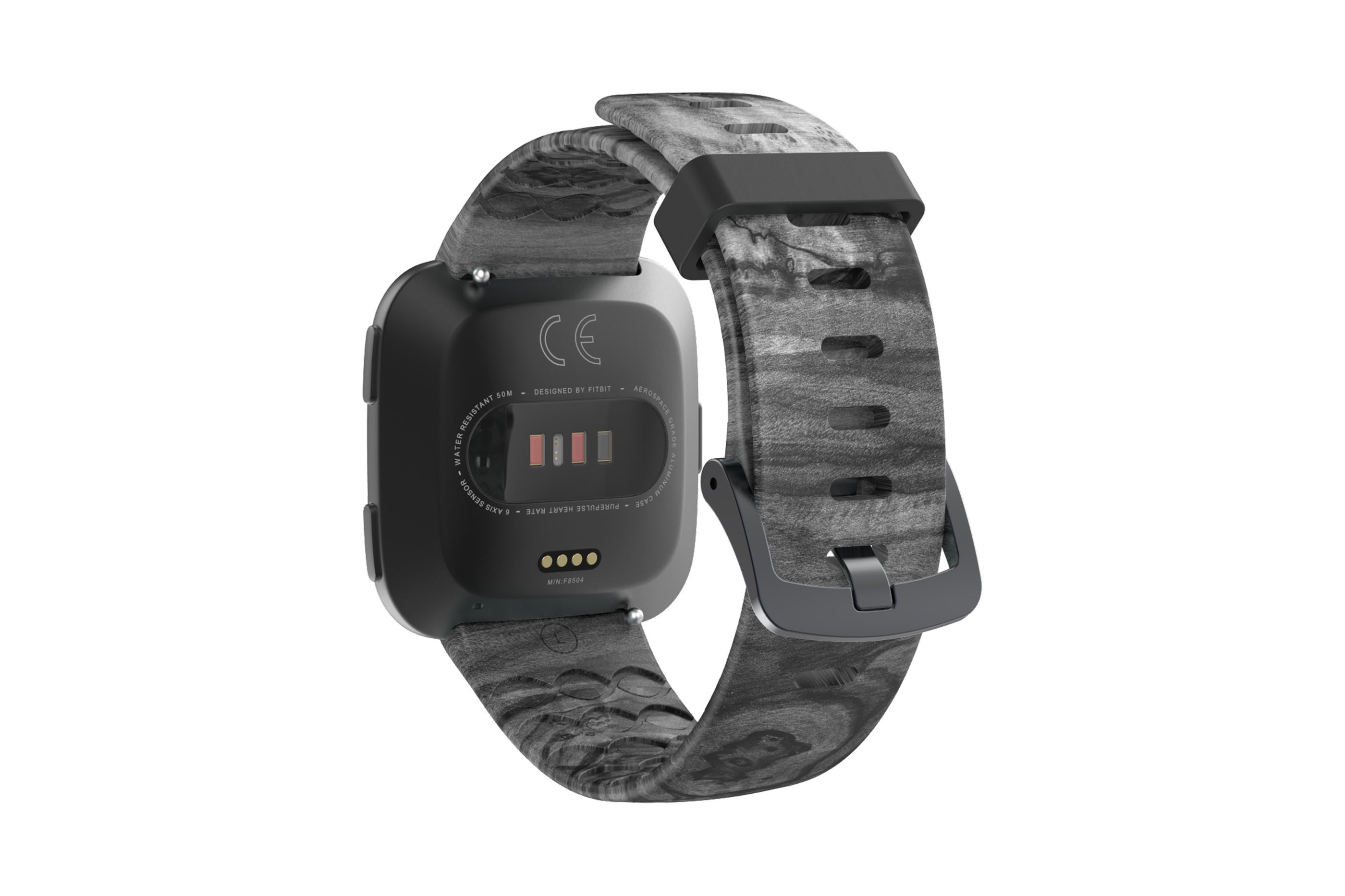 Nomad Relic fitbit versa watch band with gray hardware viewed from top down