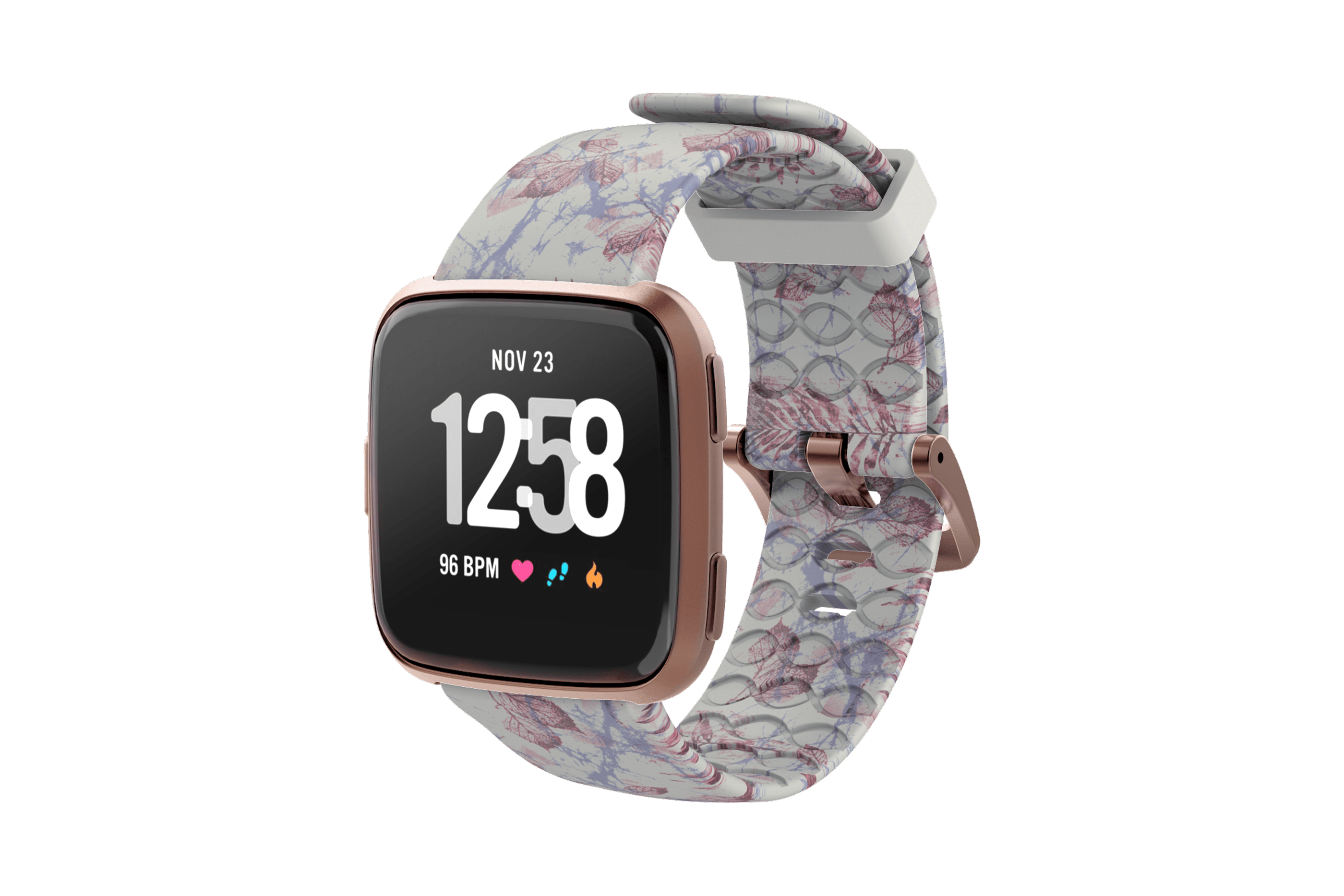 Breeze Fitbit Versa Watch Band with rose gold hardware viewed front on