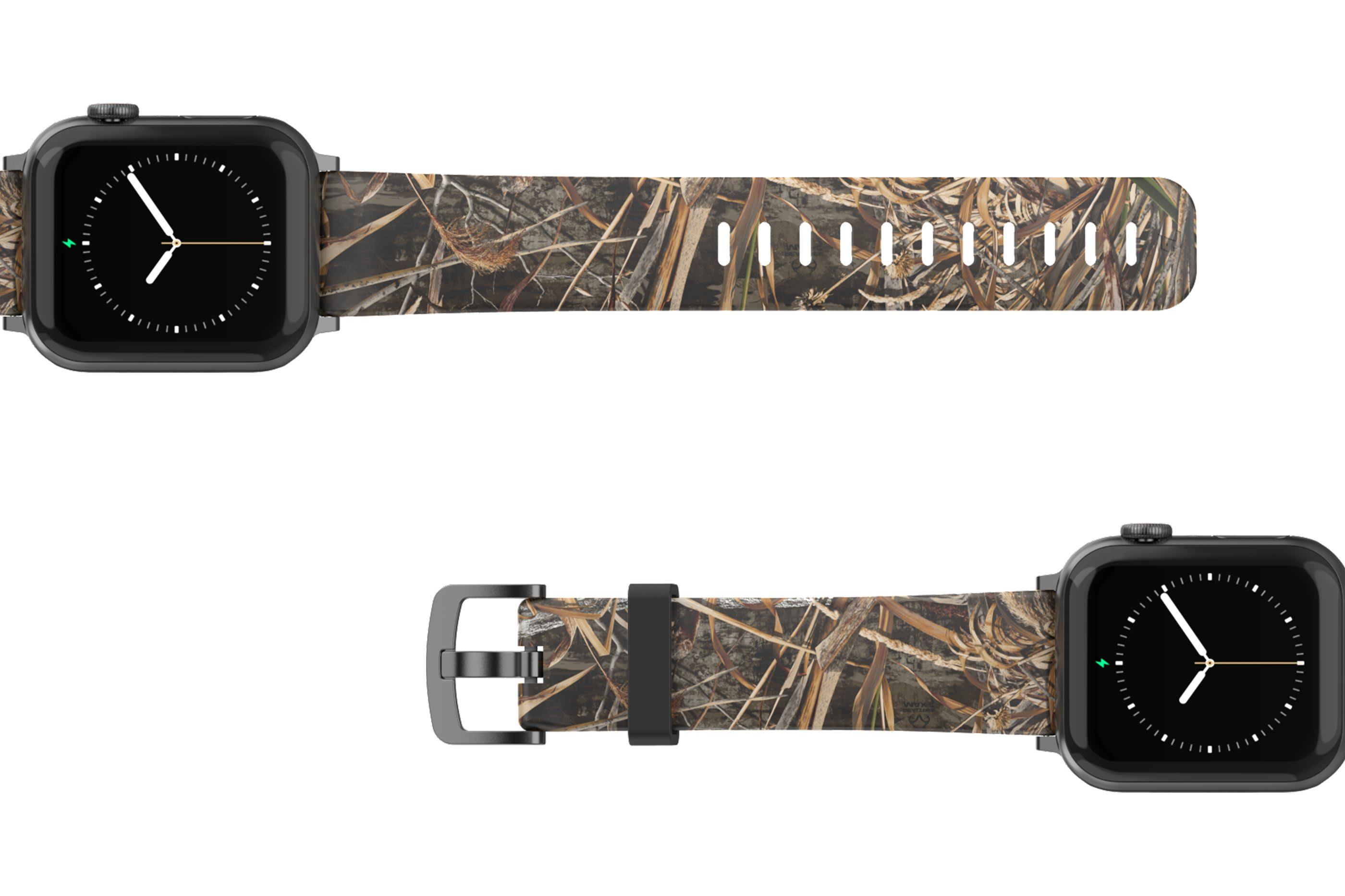 Realtree Max 5 Apple Watch Band with silver hardware viewed top down