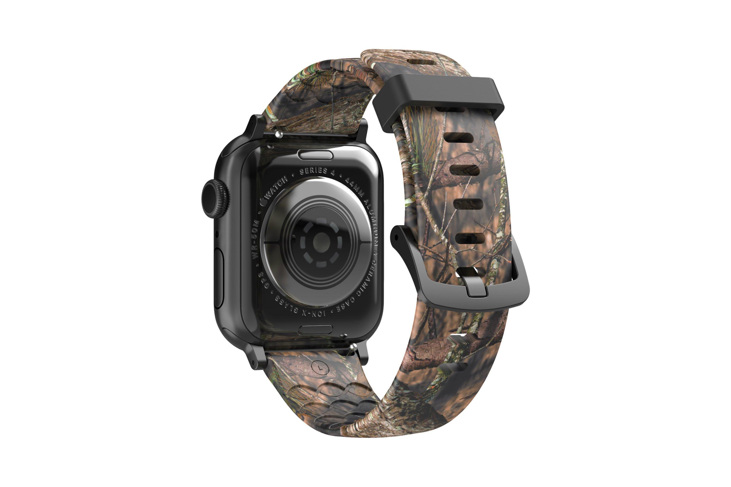 Mossy Oak Breakup Apple Watch Band with gray hardware viewed from rear