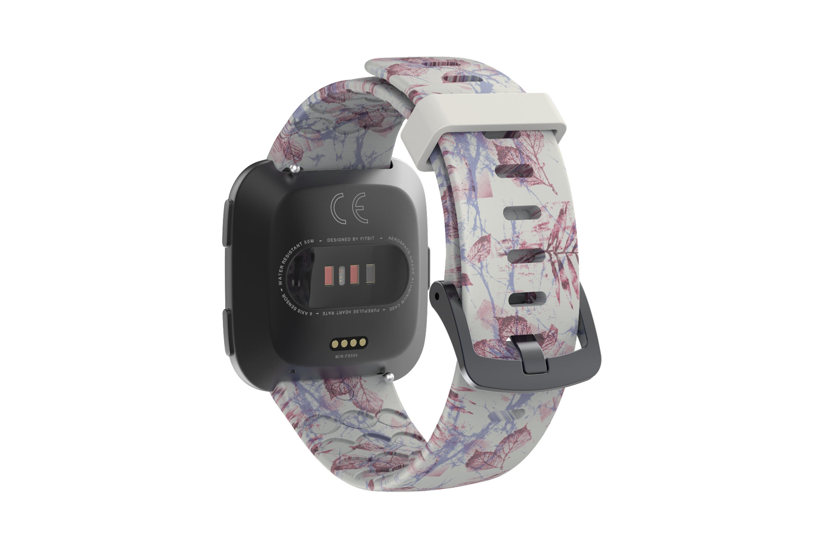 Breeze fitbit versa watch band with gray hardware viewed from top down