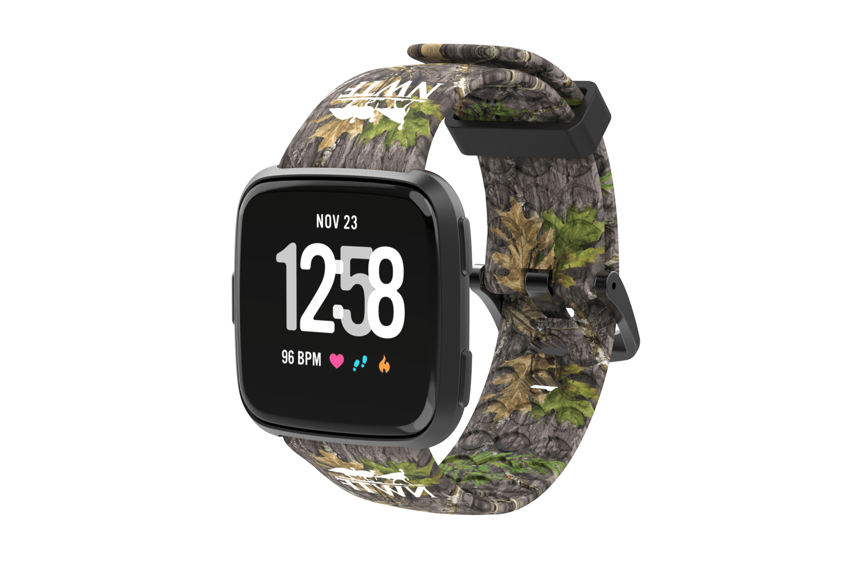 NWTF Mossy Oak Obsession Fitbit Versa Watch Band with gray hardware viewed front on