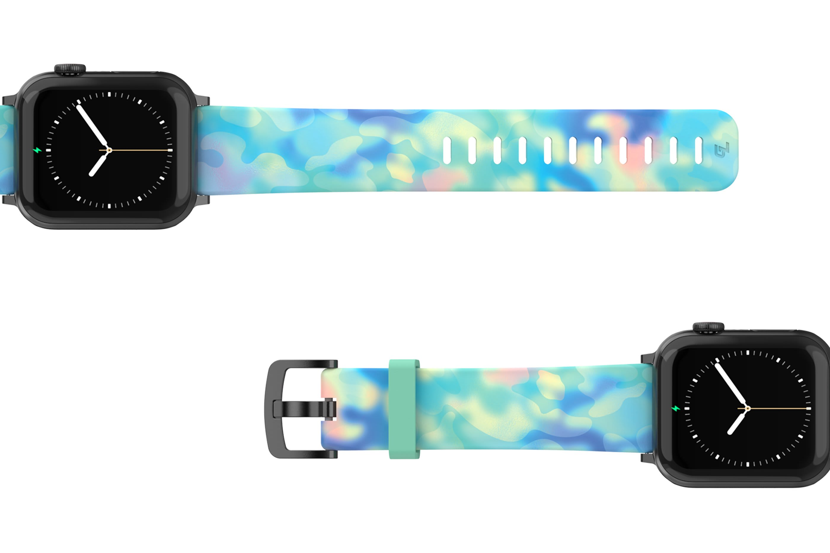 Opal - Apple watch band with gray hardware viewed top down