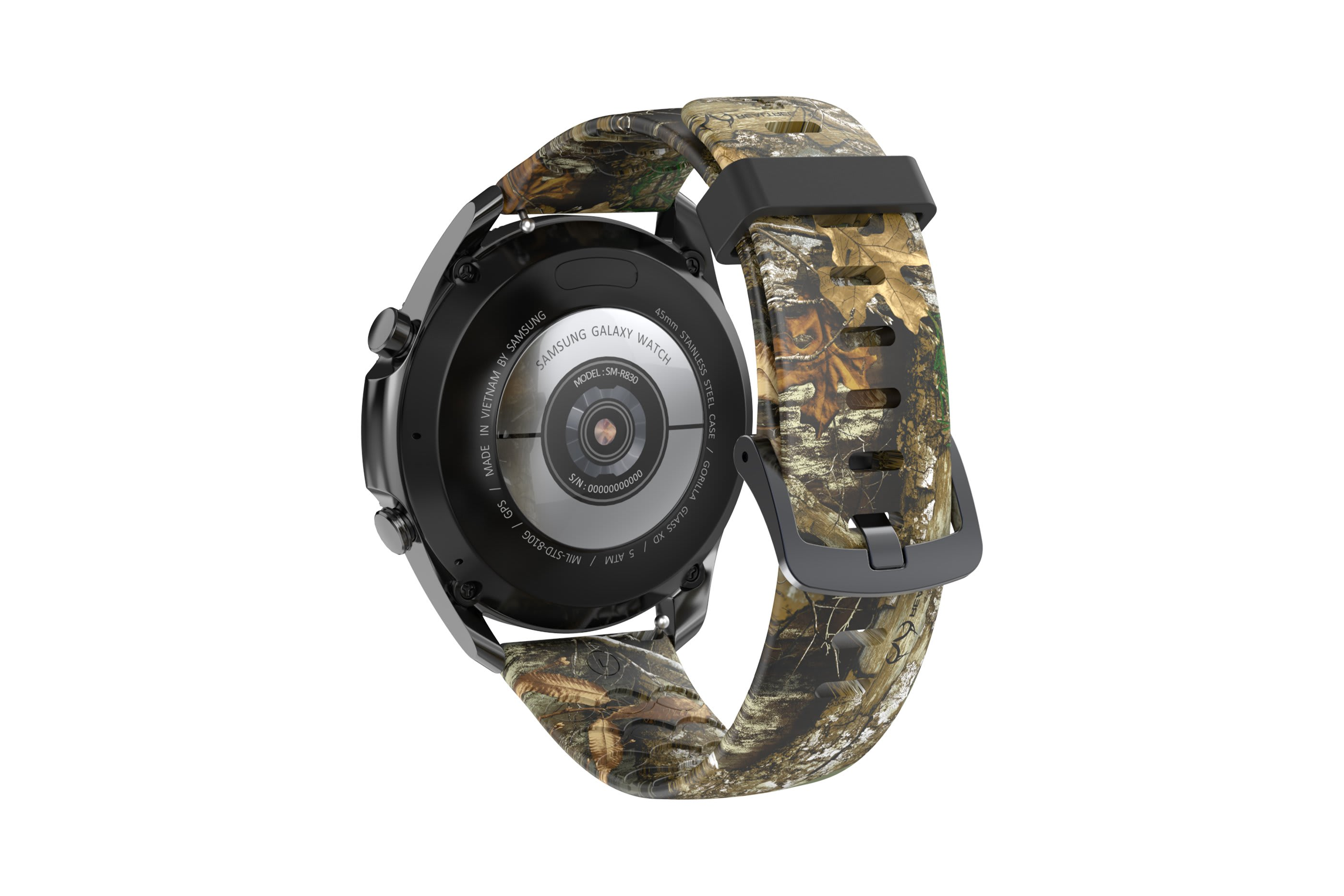 Realtree Edge  Samsung 22mm watch band with gray hardware viewed from rear